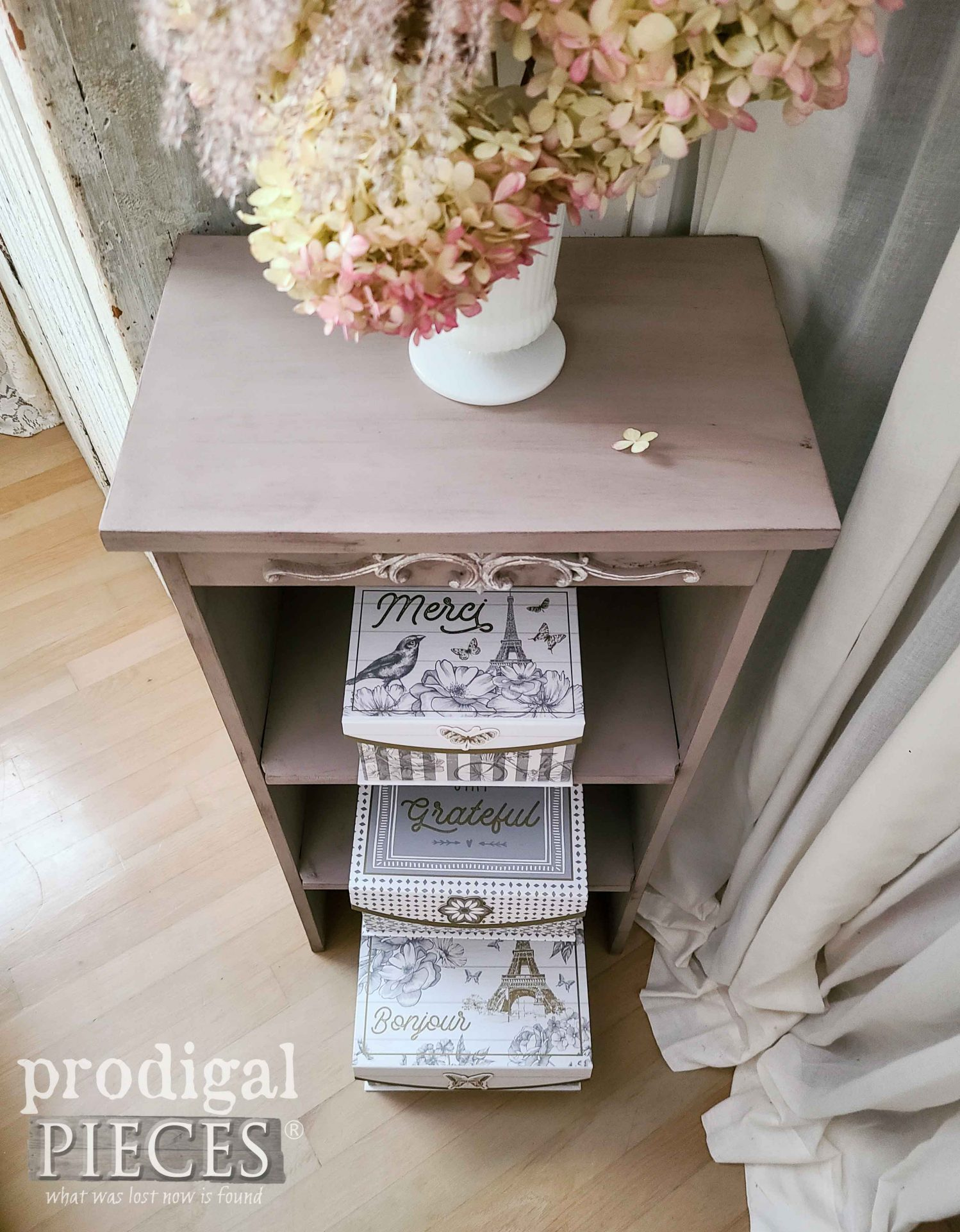 Top View of Shelf Upcycled from Broken Furniture by Larissa of Prodigal Pieces | prodigalpieces.com #prodigalpieces #vintage #storage #home #homedecor