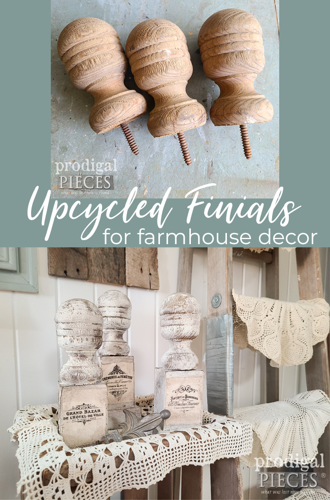 Create your own farmhouse decor with upcycled finials and DIY sawdust paint by Prodigal Pieces | prodigalpieces.com #prodigalpieces #diy #home #farmhouse #french #upcycled
