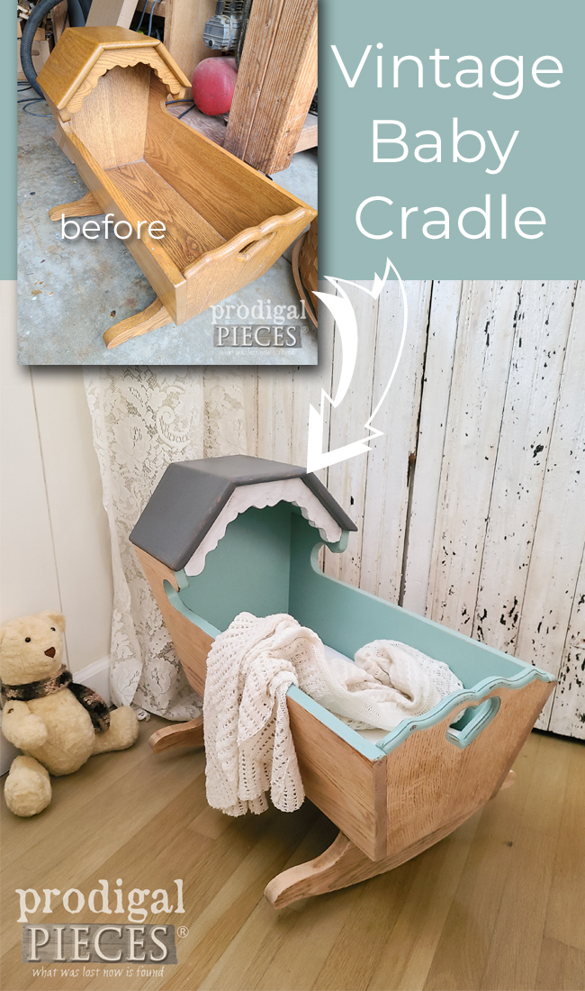 This dated vintage wooden baby cradle gets a new look to update and refresh by Larissa of Prodigal Pieces | prodigalpieces.com #prodigalpieces #diy #home #homedecor #baby