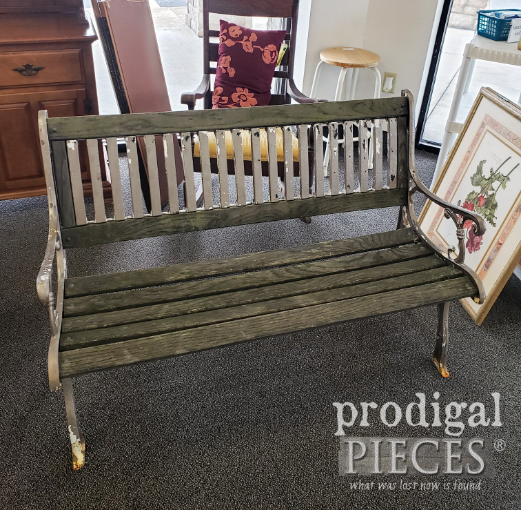 Wrought Iron Bench Before by Prodigal Pieces | prodigalpieces.com