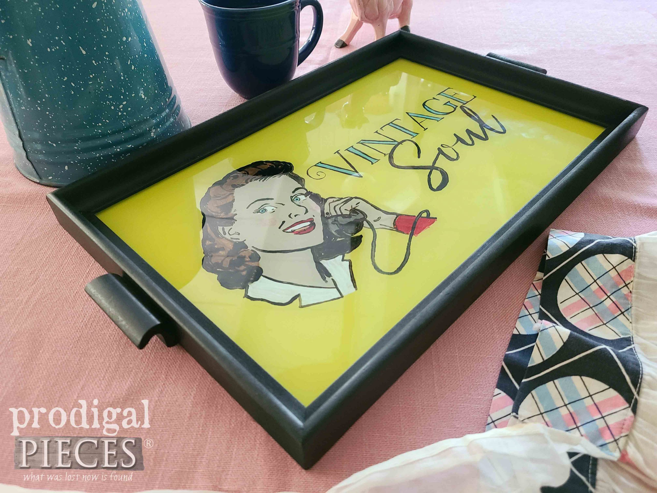 1950's Style Serving Tray with DIY Reverse Painting Tutorial by Larissa of Prodigal Pieces | prodigalpieces.com #prodigalpieces #vintage #home #diy