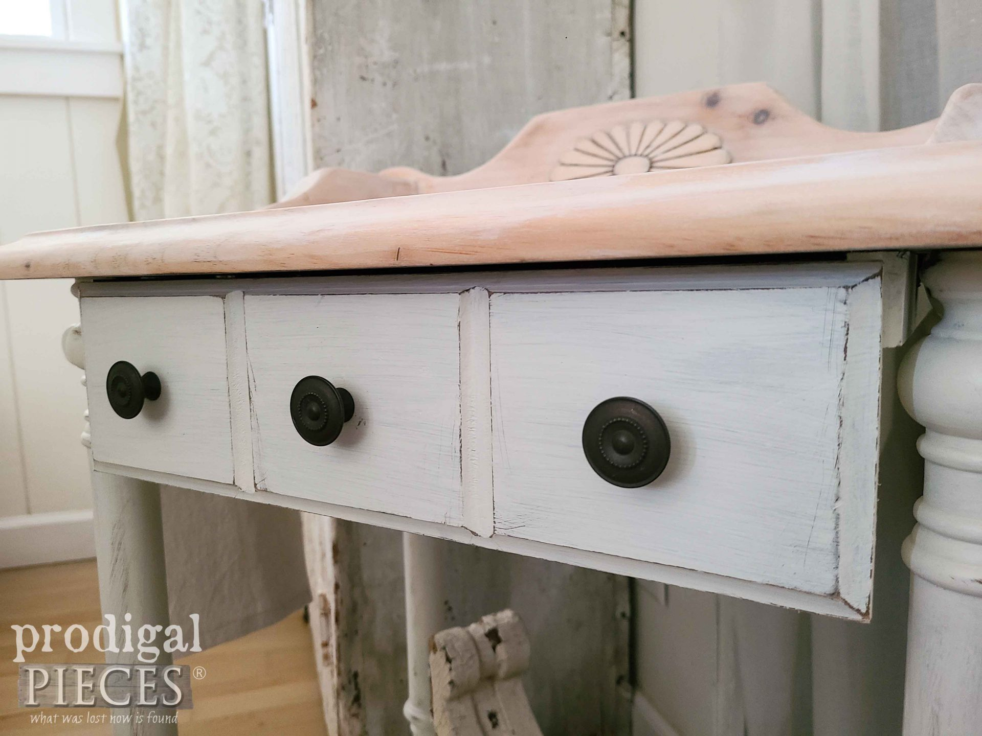 Antique Drawer Knobs on Wash Stand by Larissa of Prodigal Pieces | prodigalpieces.com #prodigalpieces #farmhouse #home #antique