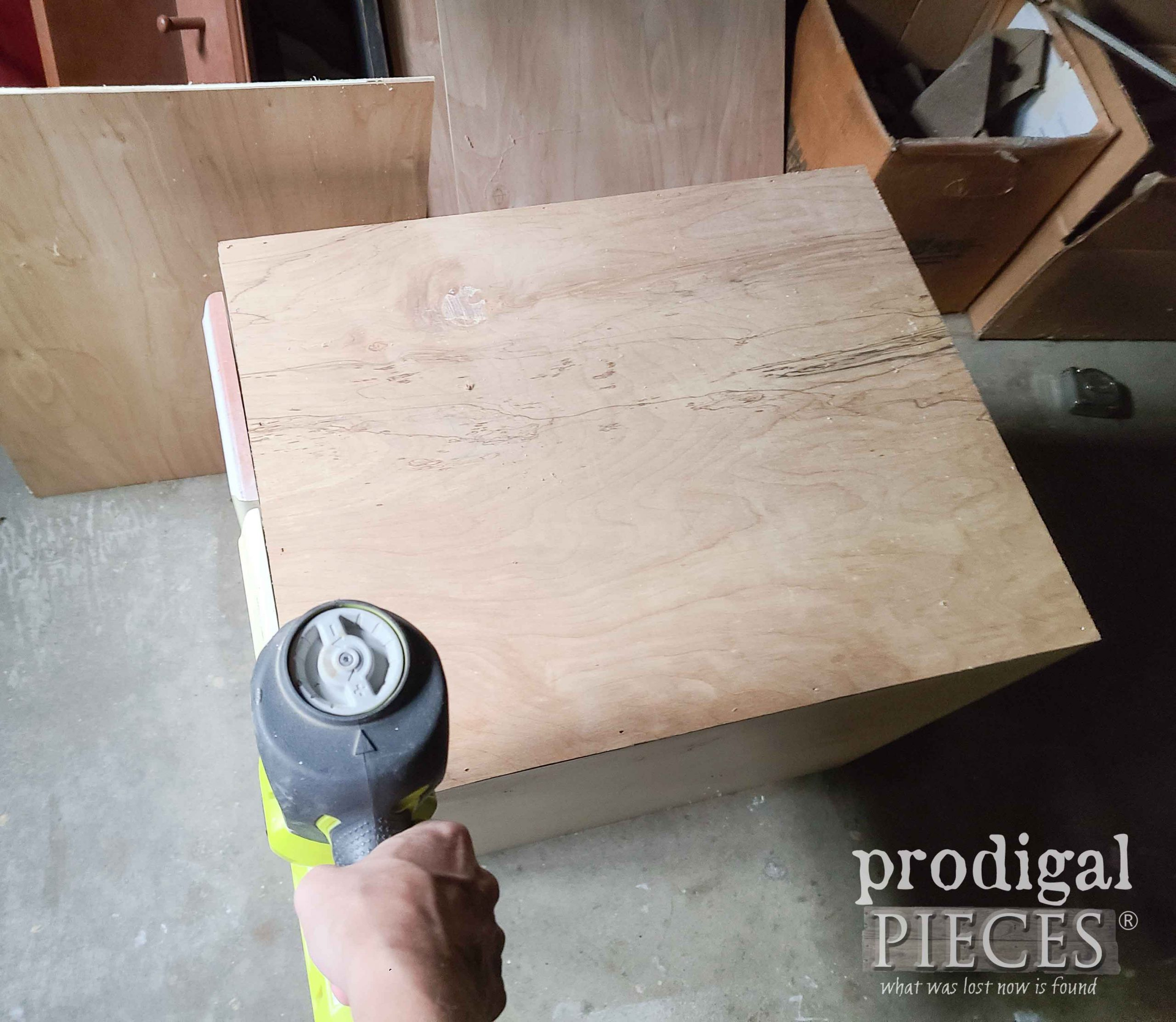 Attaching Cabinet Side Panels with Nailer   prodigalpieces.com