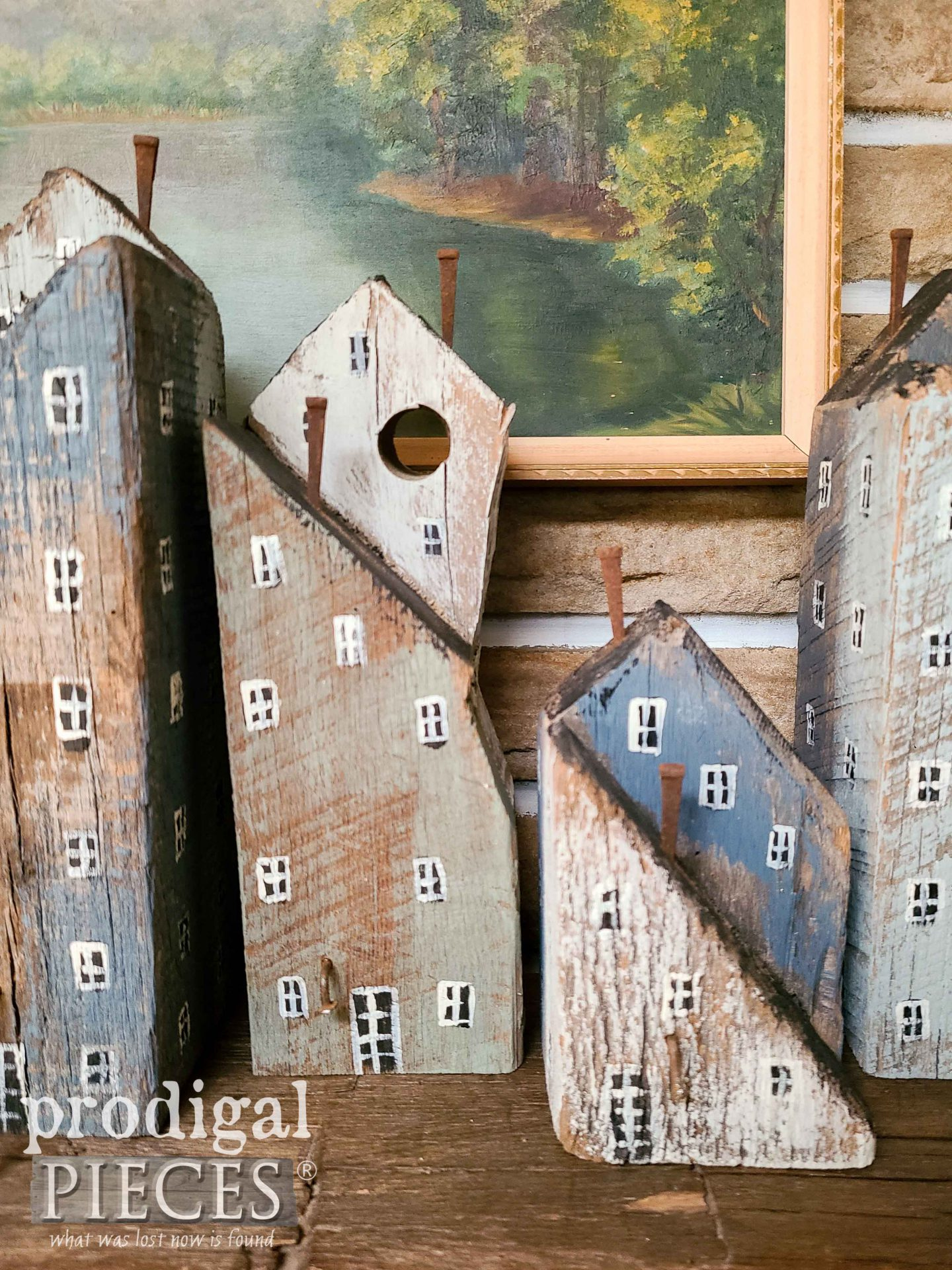 Reclaimed Wood Barn Beam Houses Created by Larissa of Prodigal Pieces | prodigalpieces.com #prodigalpieces #farmhouse #diy #scandinavian #rustic