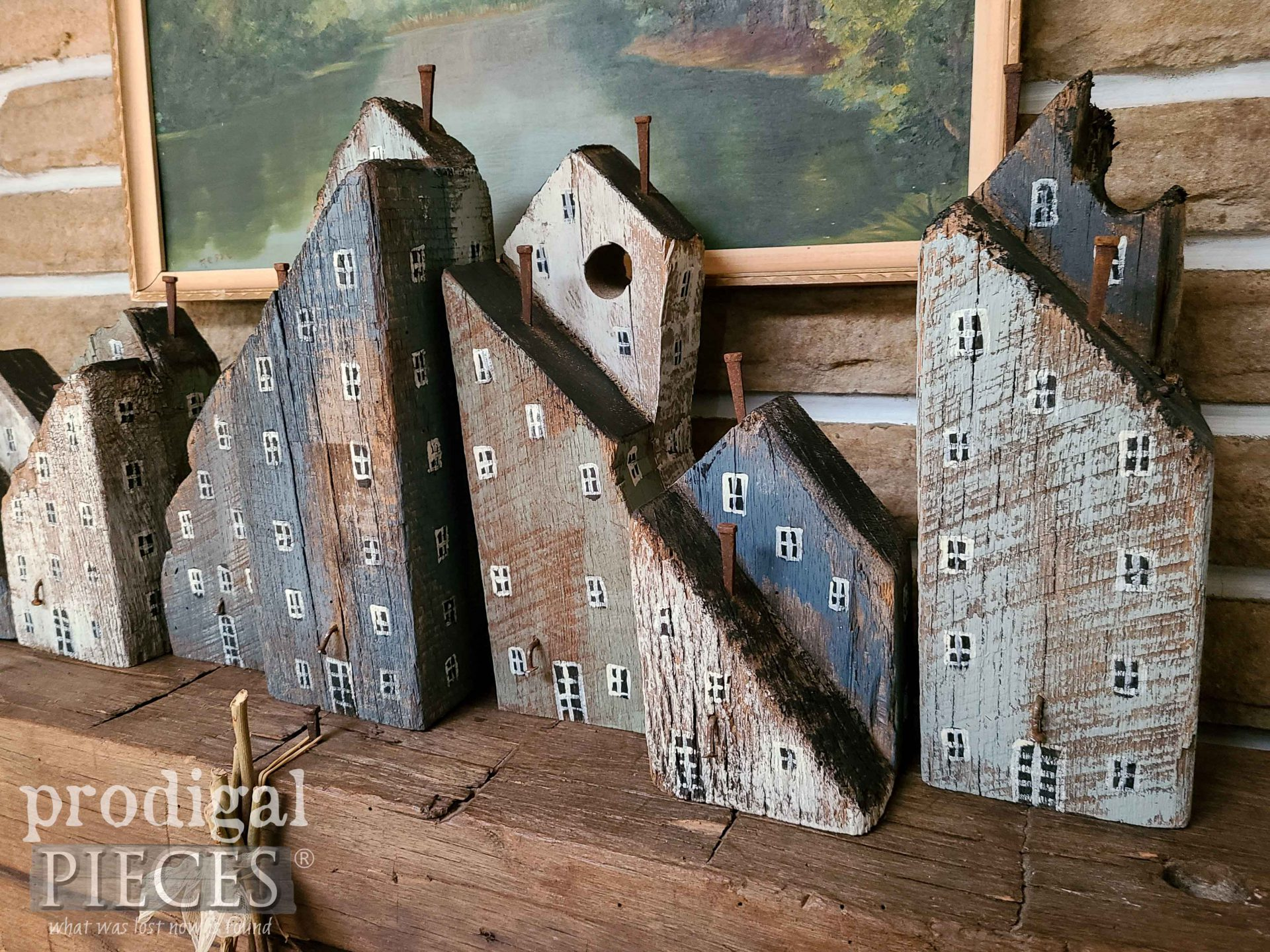 Rustic Reclaimed Wood Block Houses by Larissa of Prodigal Pieces | prodigalpieces.com #prodigalpieces #reclaimed #crafts #diy
