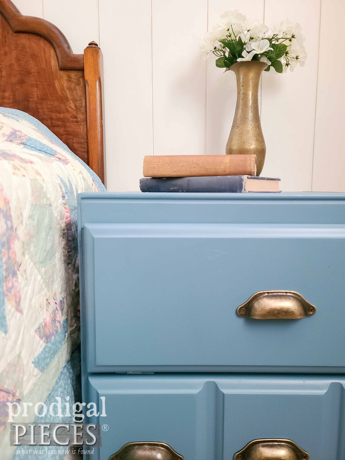 Blue Chest Cabinet Side Table with Antique Brass Bin Pulls by Larissa of Prodigal Pieces   prodigalpieces.com #prodigalpieces #diy #furniture #home #blue