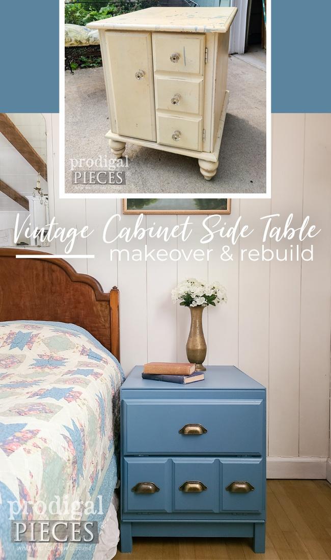 A vintage cabinet side table gets a makeover & rebuild by Larissa of Prodigal Pieces   prodigalpieces.com #prodigalpieces #furniture #home #modernfarmhouse