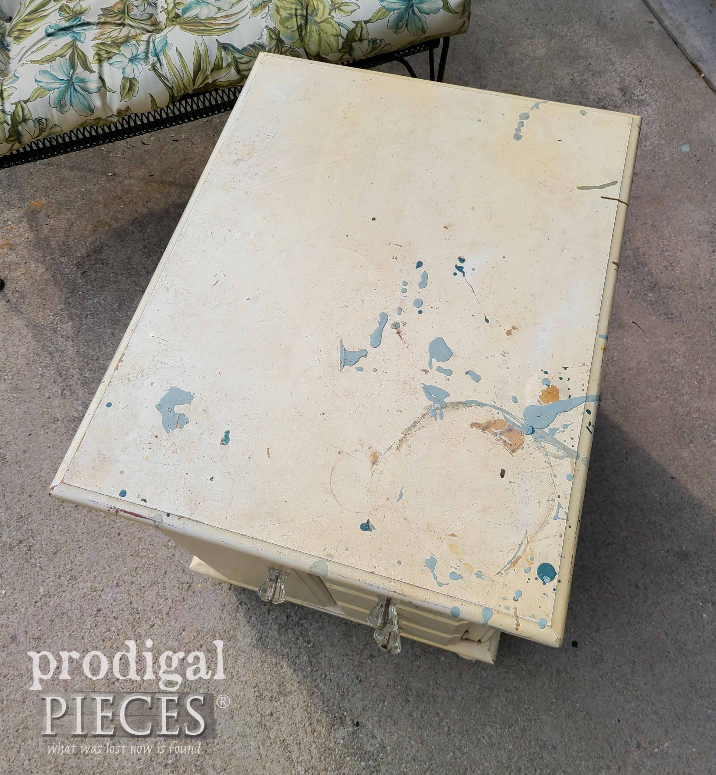 Top of Vintage Riverside Cabinet Side Table with Damage   prodigalpieces.com #prodigalpieces