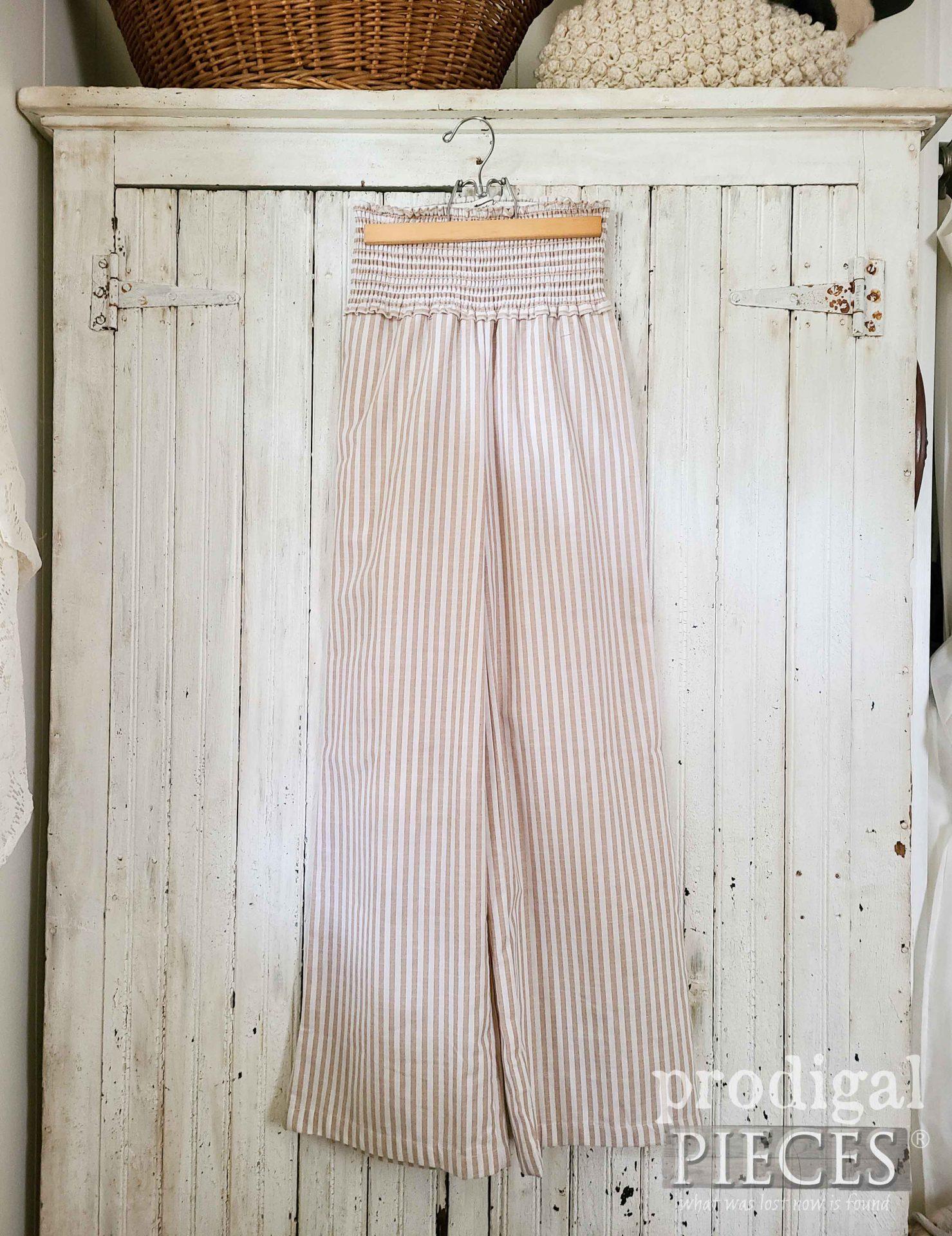Striped Cotton Pants Before Refashion by Larissa of Prodigal Pieces | prodigalpieces.com