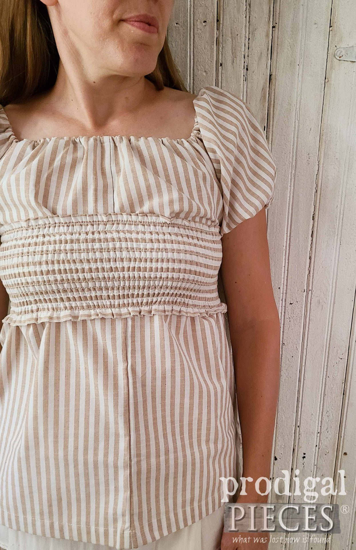 Cotton Striped Smocked Blouse for Ladies' Fashion by Larissa of Prodigal Pieces | prodigalpieces.com #prodigalpieces #fashion #style #women #sewing #refashion