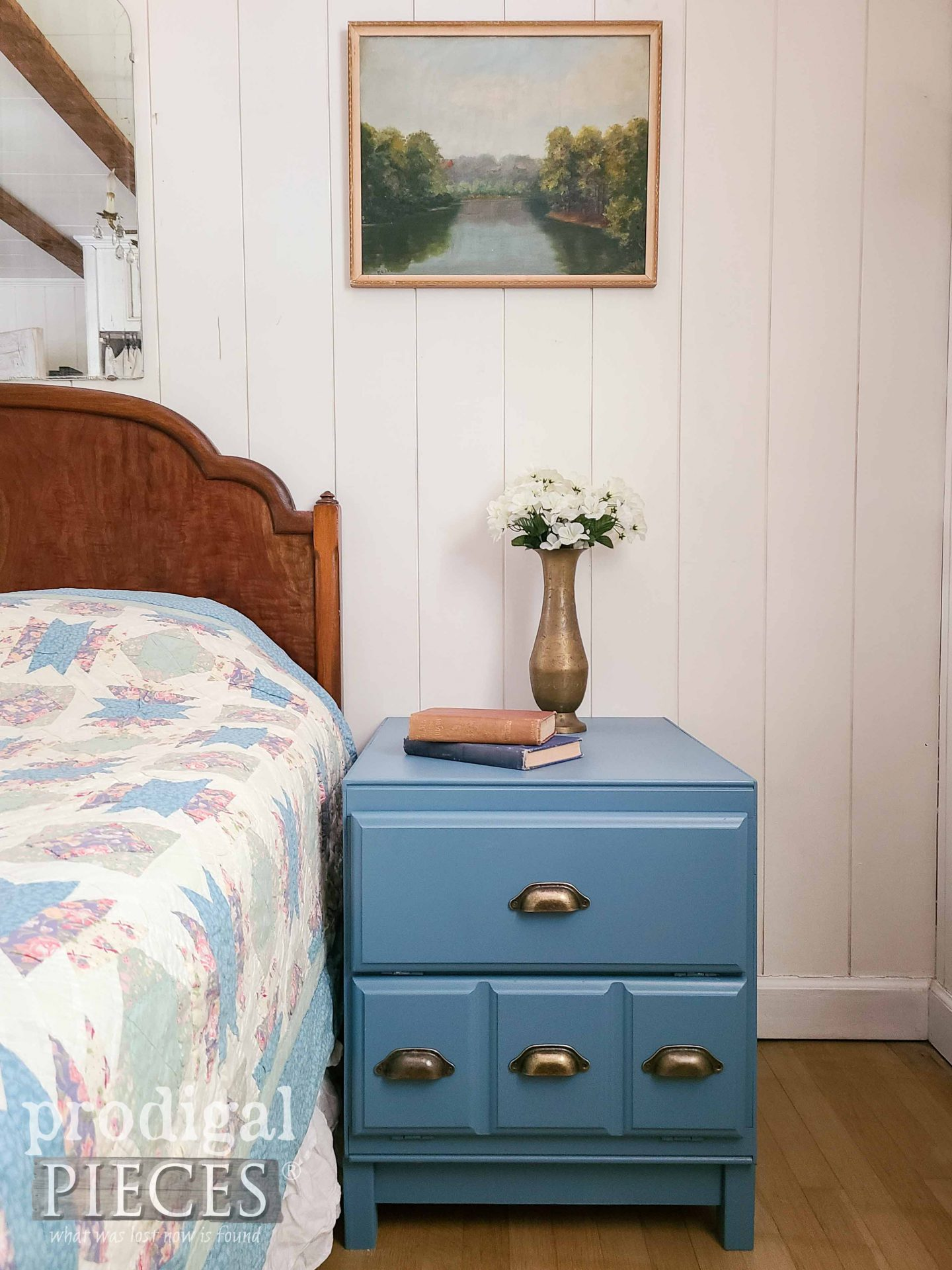 DIY Cabinet Side Table In Blue with Brass Bin Pulls by Larissa of Prodigal Pieces   prodigalpieces.com #prodigalpieces #diy #furniture #home #homedecor