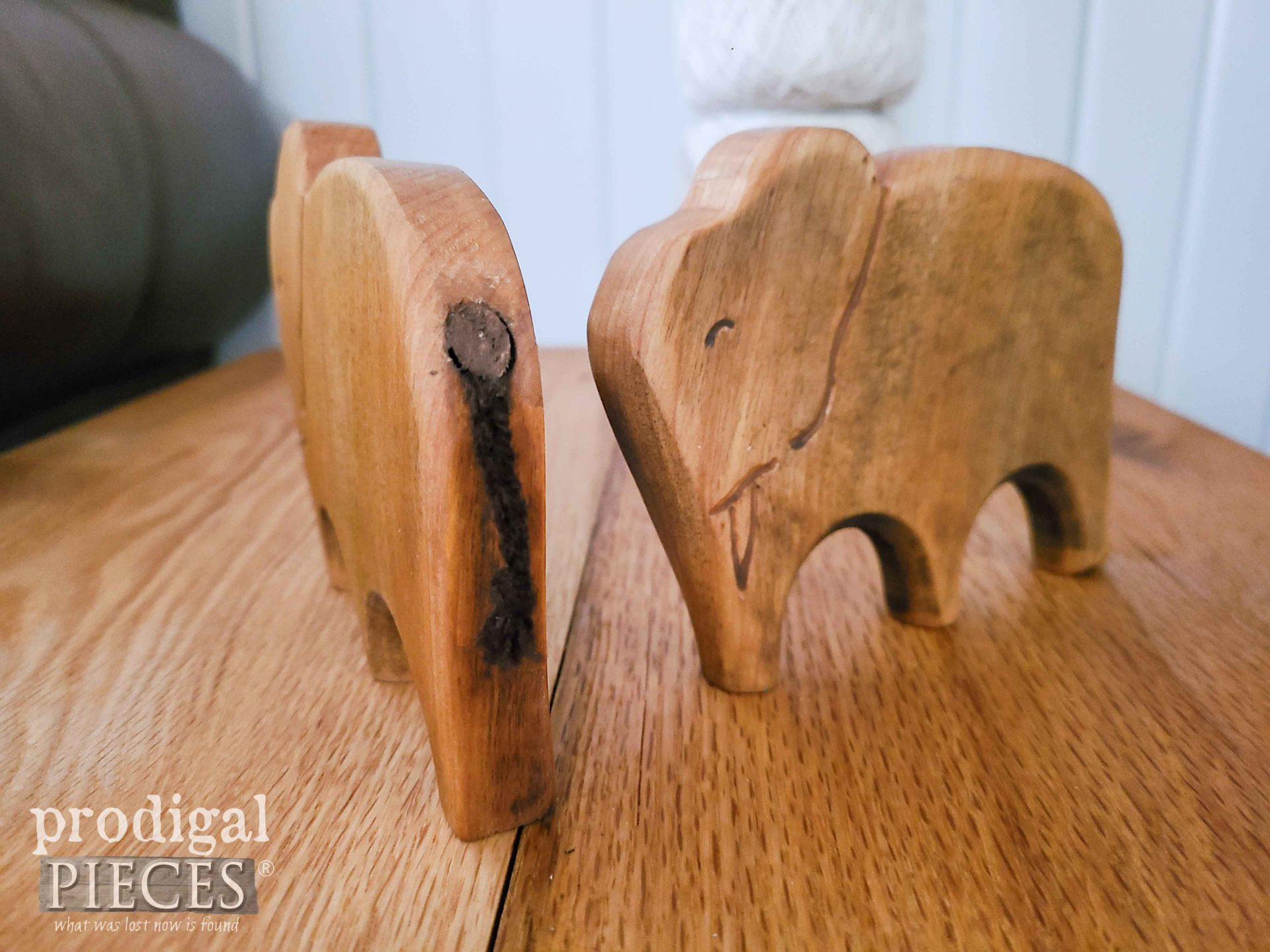 Braided Elephant Tails in Hand Carved Elephants by Larissa of Prodigal Pieces | prodigalpieces.com #prodigalpieces #farmhouse #reclaimed