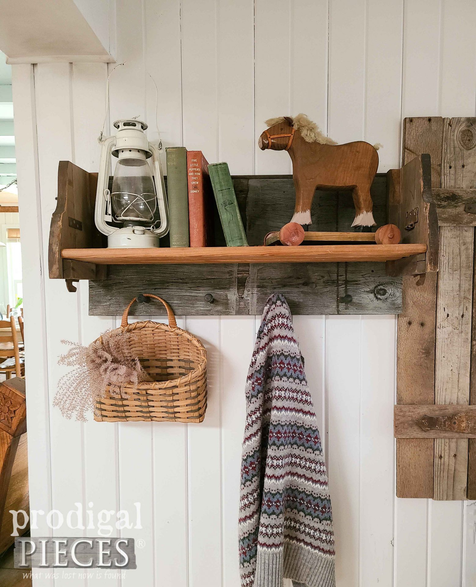 DIY Farmhouse Shelf Rack with Shaker Pegs by Larissa of Prodigal Pieces   prodigalpieces.com #prodigalpieces #farmhouse #diy #home #homedecor