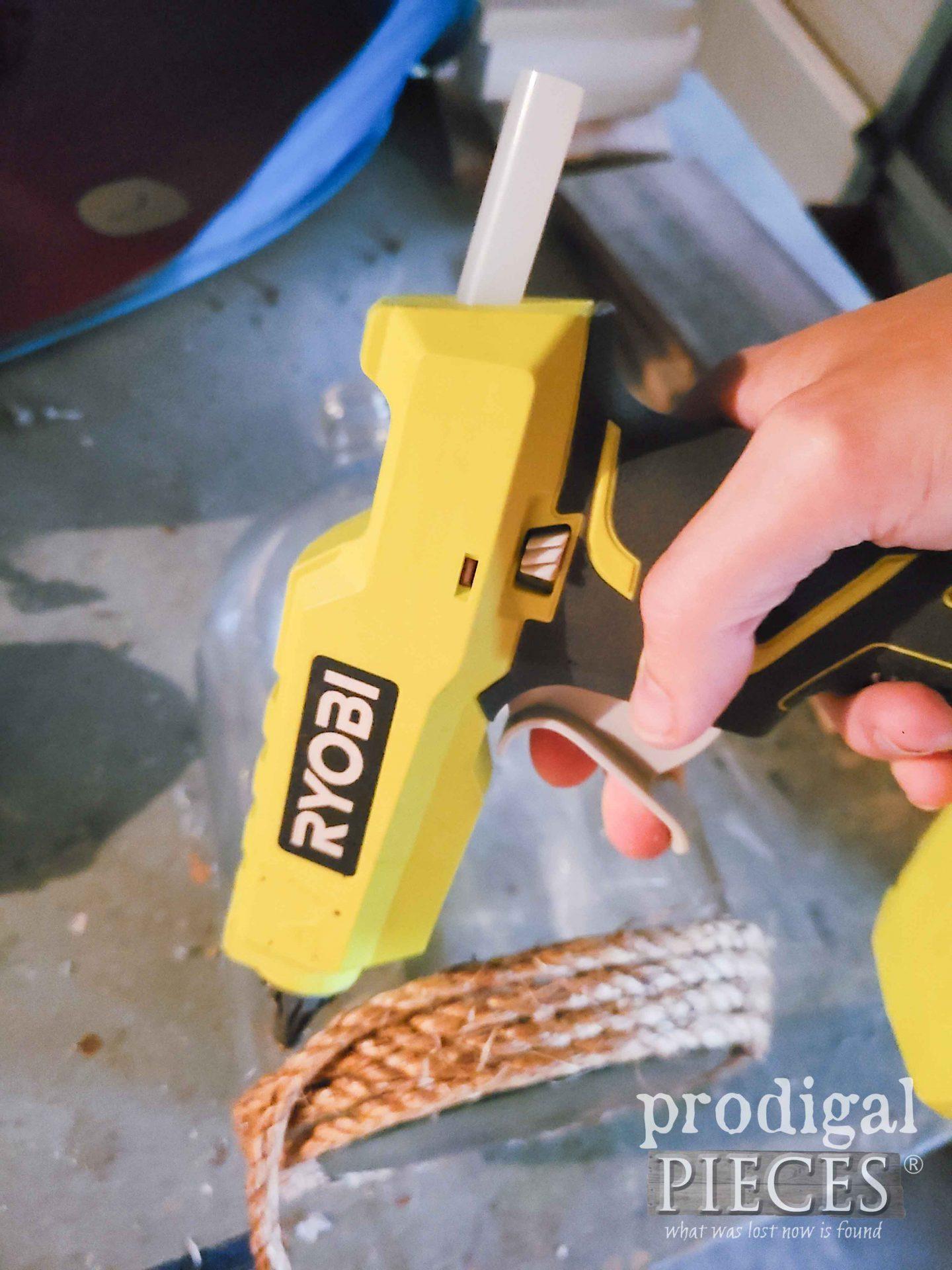 Using Hot Glue for DIY Demijohn Jug by Prodigal Pieces   prodigalpieces.com