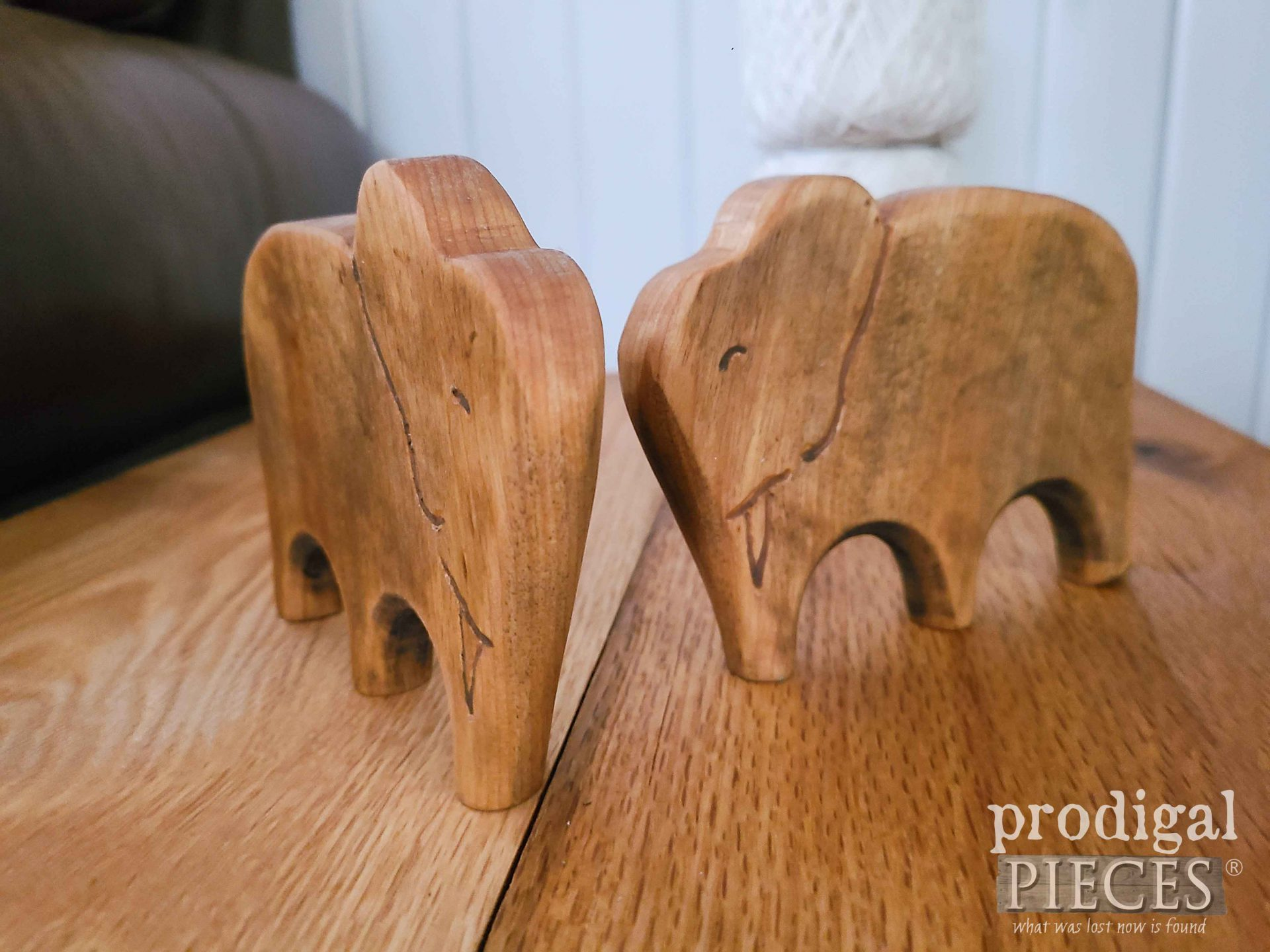 Hand Carved Elephants by Larissa of Prodigal Pieces | prodigalpieces.com #prodigalpieces #elephants #reclaimed