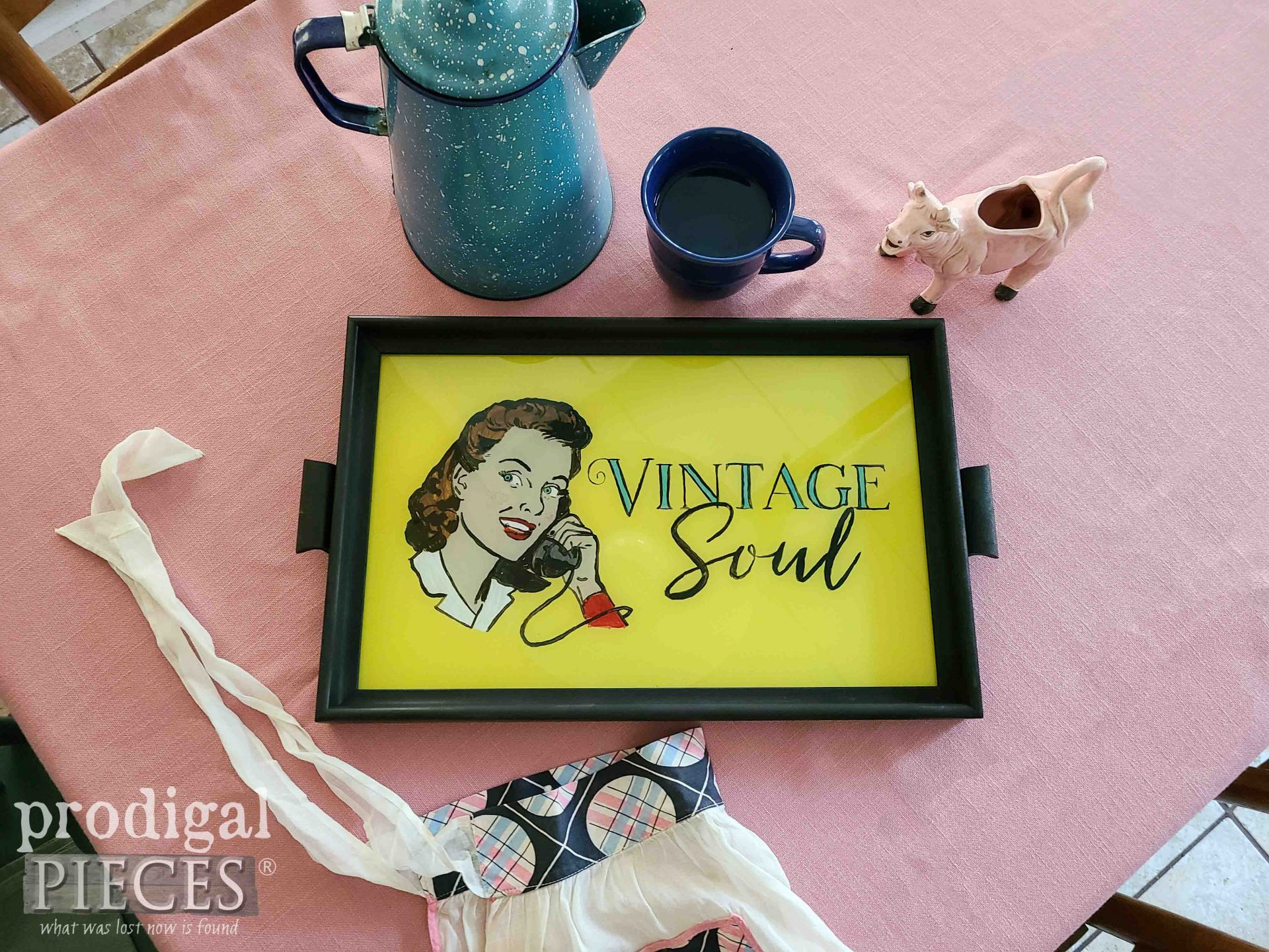 Hand-Painted Vintage Serving Tray with Reverse Painting Tutorial by Larissa of Prodigal Pieces | prodigalpieces.com #prodigalpieces #tutorial #diy #home #vintage