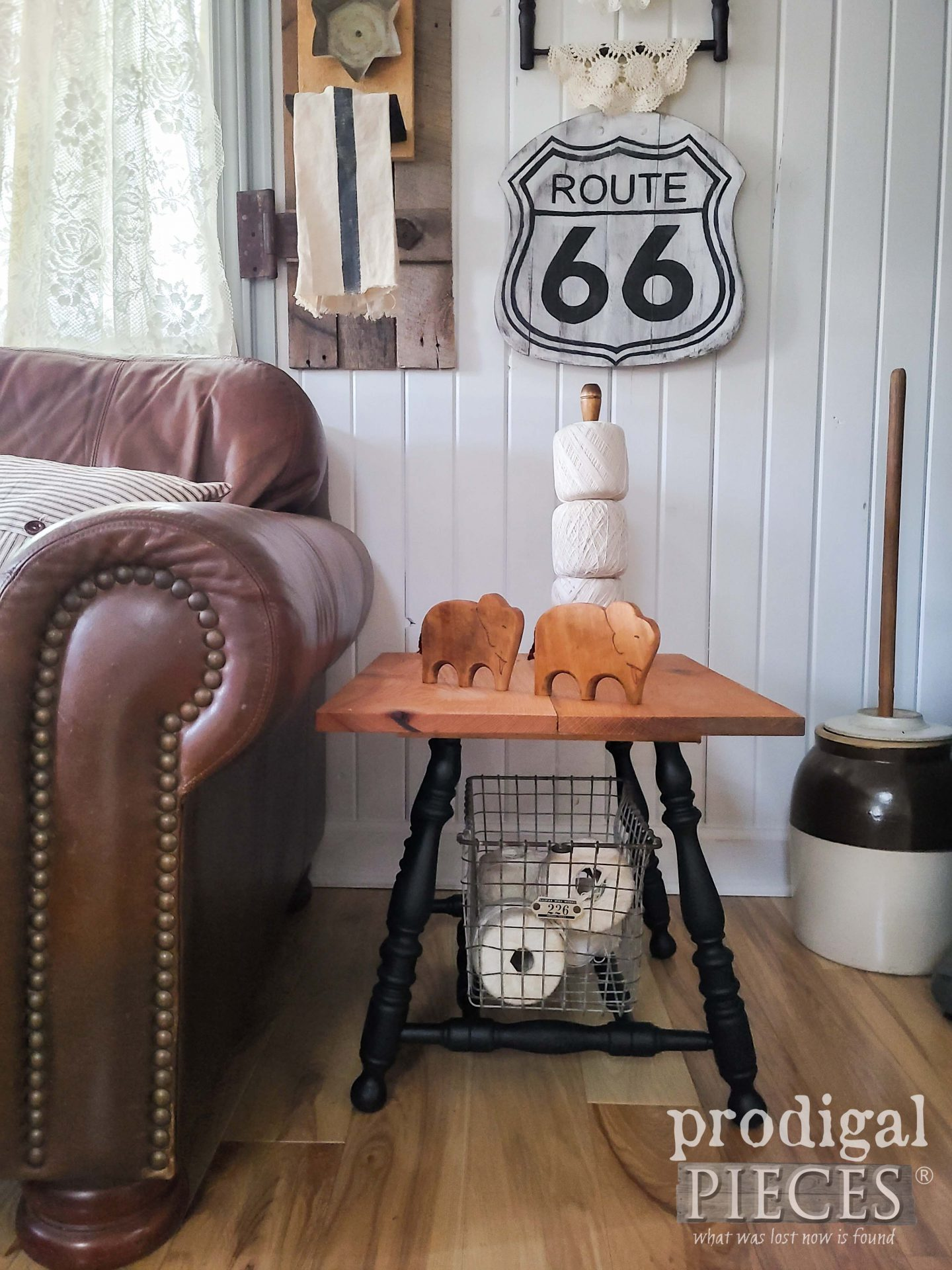 Handmade Side Table for Farmhouse Decor Built by Larissa of Prodigal Pieces from Upcycled Broken Chair | prodigalpieces.com #prodigalpieces #farmhouse #furntiure #diy #home