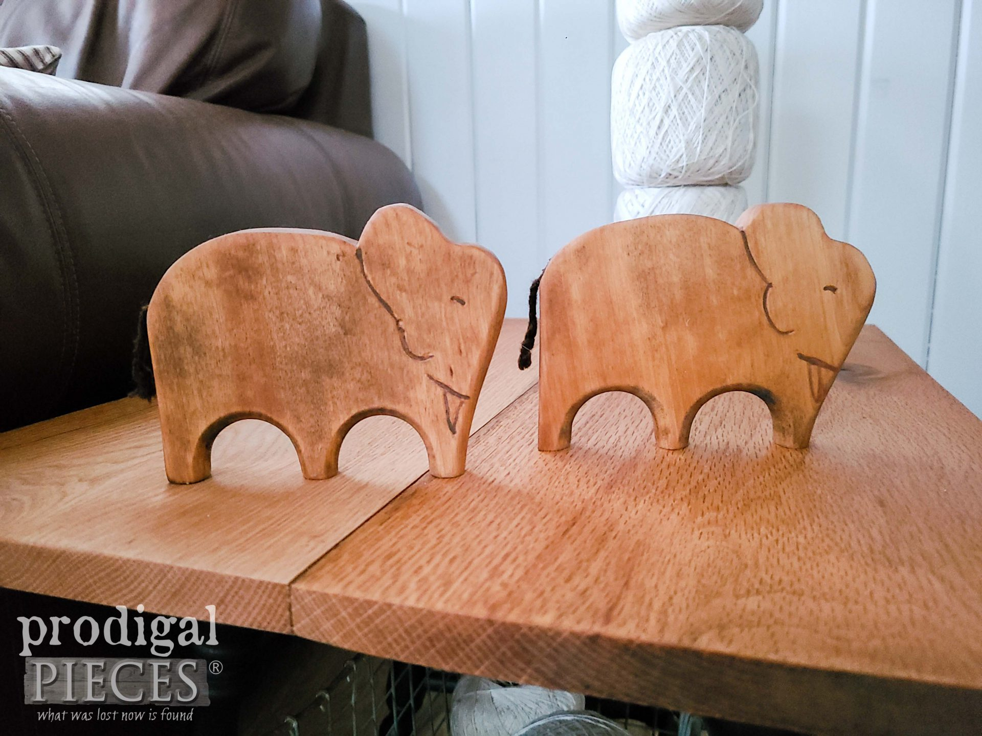 Handmade Wooden Elephants made from Upcycled Chair Back by Larissa of Prodigal Pieces | prodigalpieces.com #prodigalpieces #farmhouse #home #diy #elephant