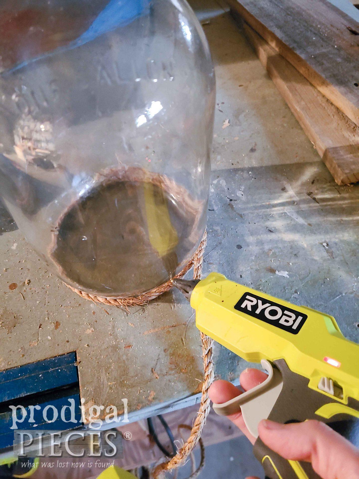 Hot Gluing Rope onto Glass Jug   prodigalpieces.com