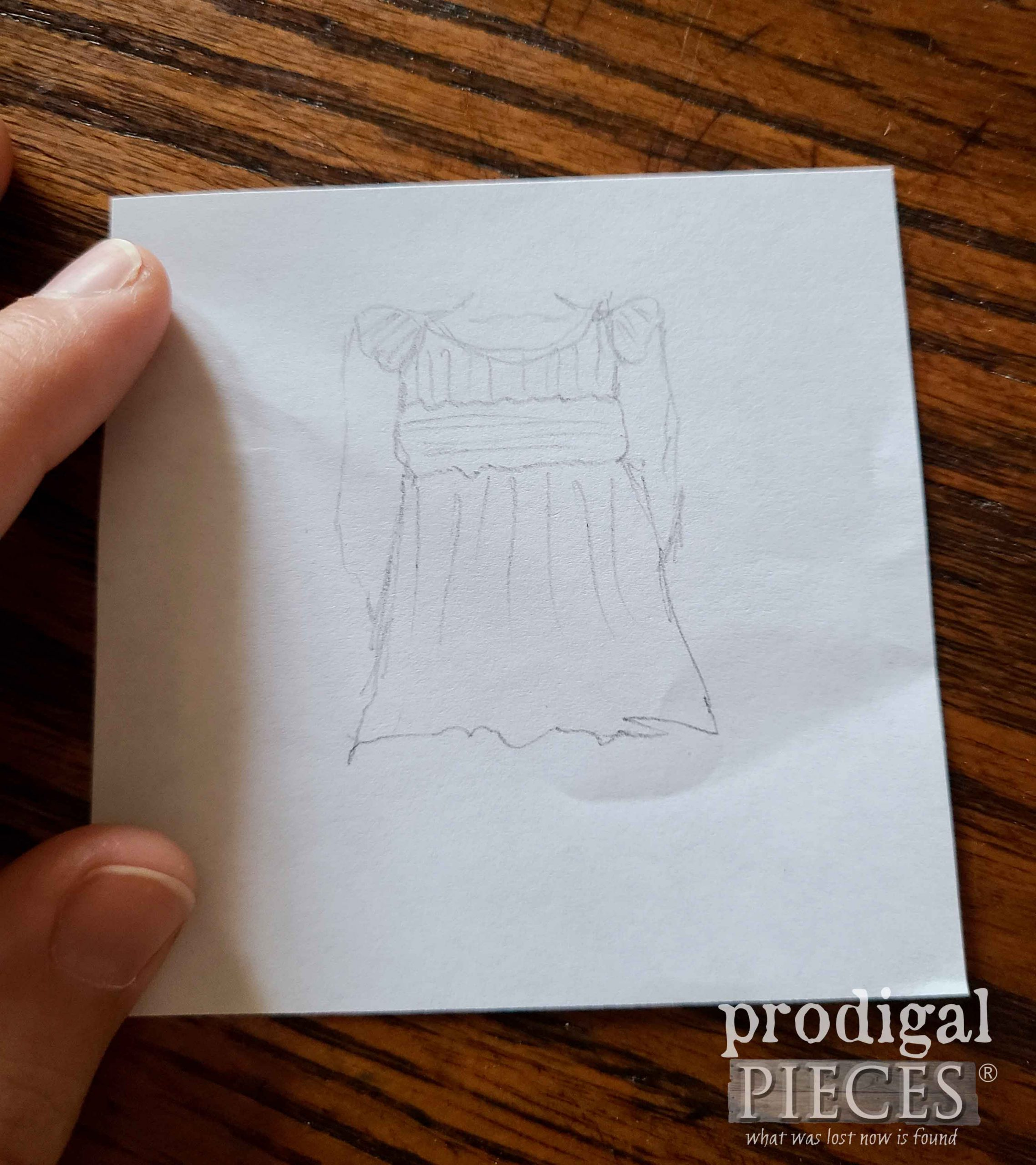 Sketch for Ladies' Smocked Blouse from Refashioned Pants | prodigalpieces.com