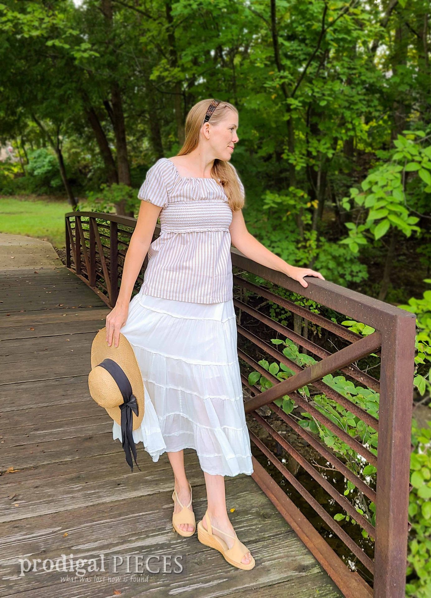 Larissa of Prodigal Pieces in Refashioned Ladies' Smocked Blouse | prodigalpieces.com #prodigalpieces #refashion #upcycle #fashion #clothing