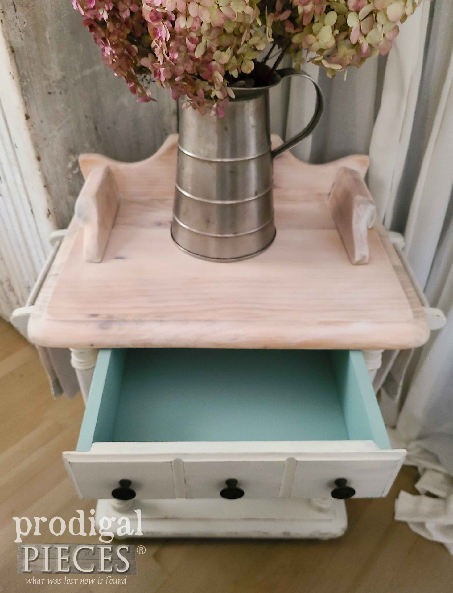Open Vintage Wash Stand Drawer in Blue by Larissa of Prodigal Pieces | prodigalpieces.com #prodigalpieces #vintage #farmhouse #furniture