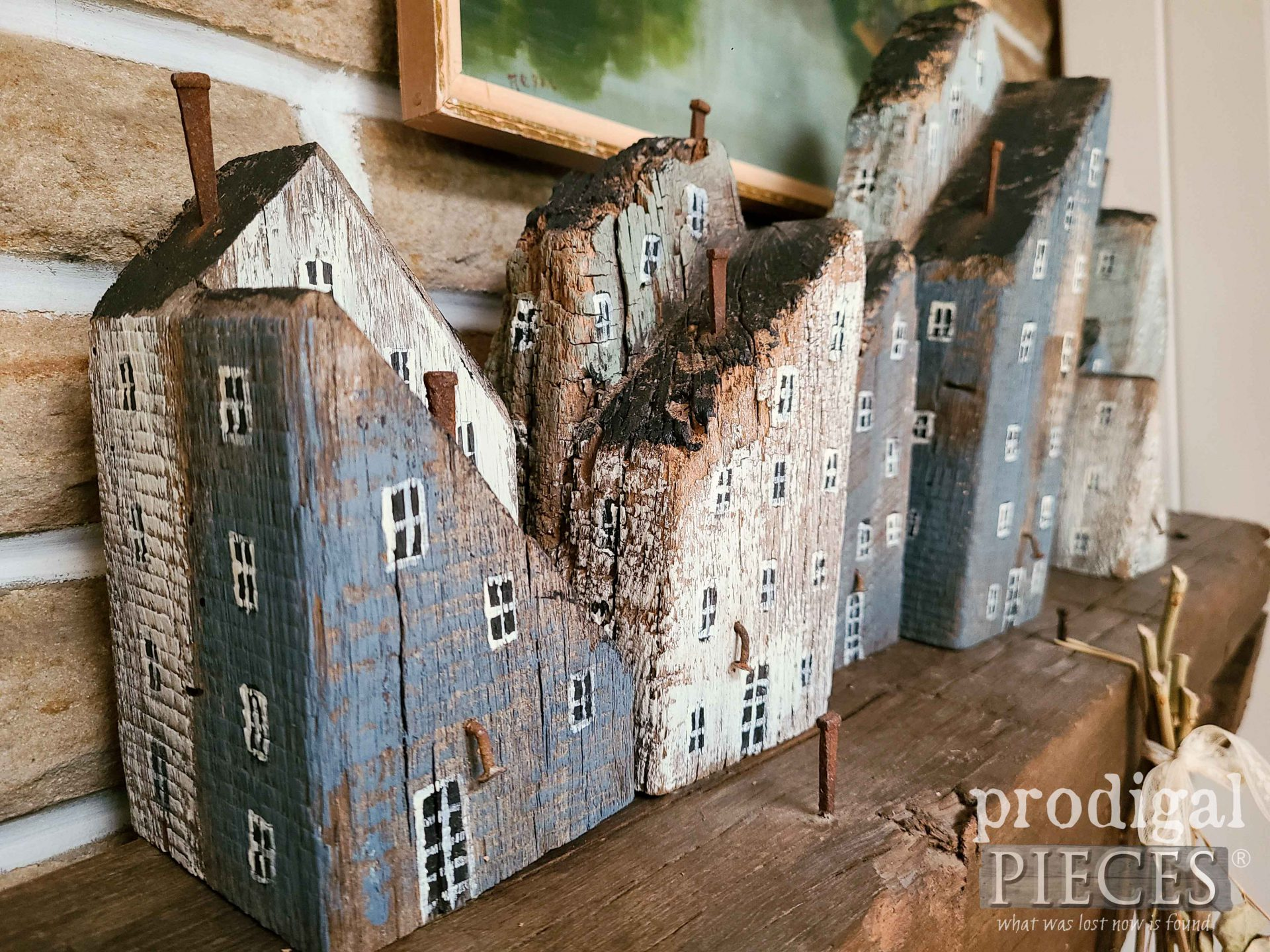 Hand-Painted Reclaimed Wood Houses by Larissa of Prodigal Pieces | prodigalpieces.com #prodigalpieces #diy #scandinavian #home #farmhouse