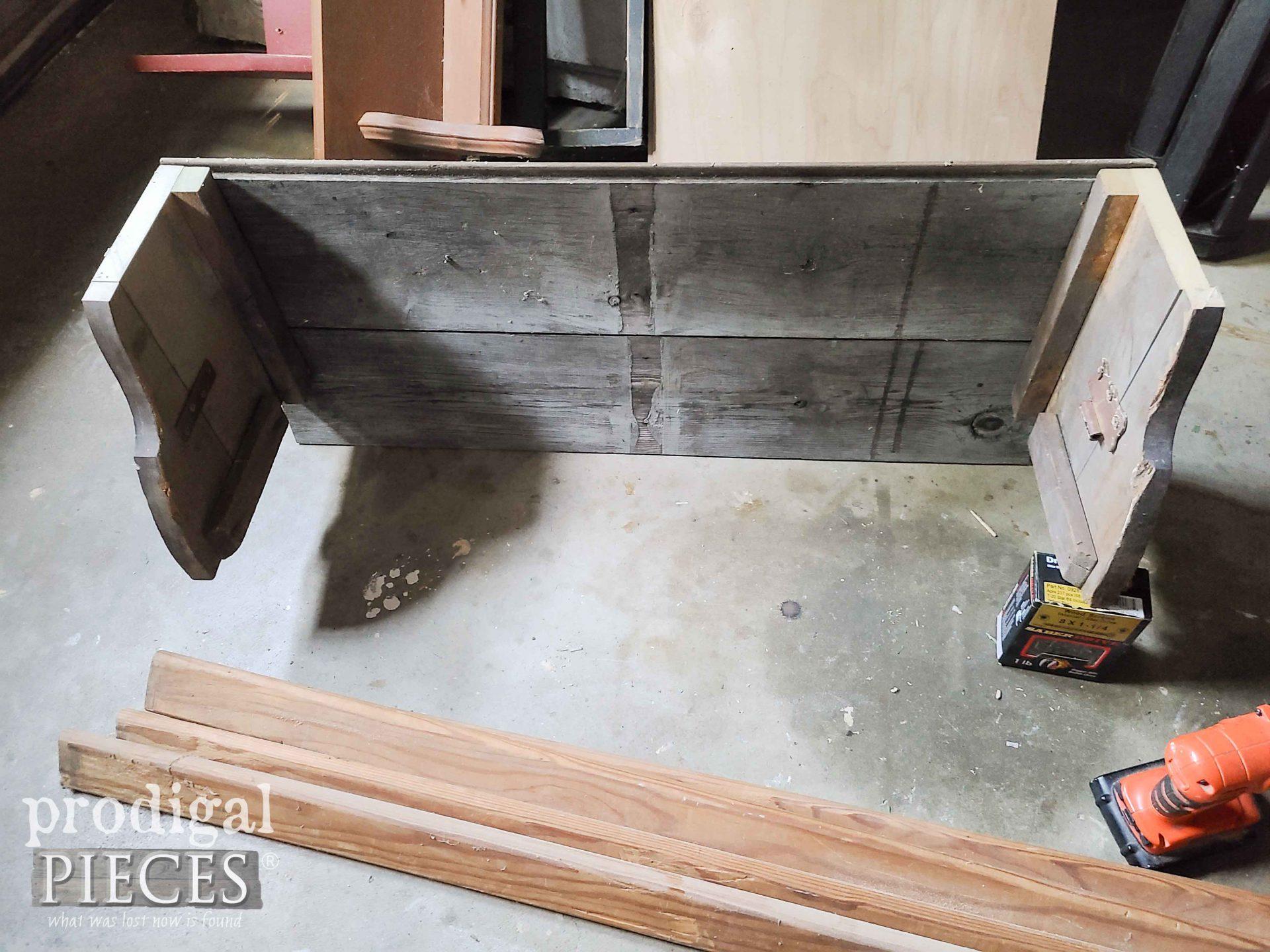 Assmebling the Antique Bed Pieces for Reclaimed Shelf Rack   prodigapieces.com