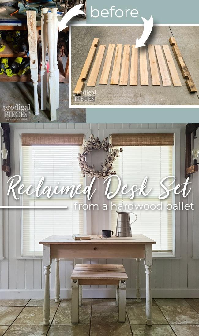 Build a relaimed wood desk set as shown built by Larissa of Prodigal Pieces | prodigalpieces.com #prodigalpieces #furntiure #home #homedecor #diy
