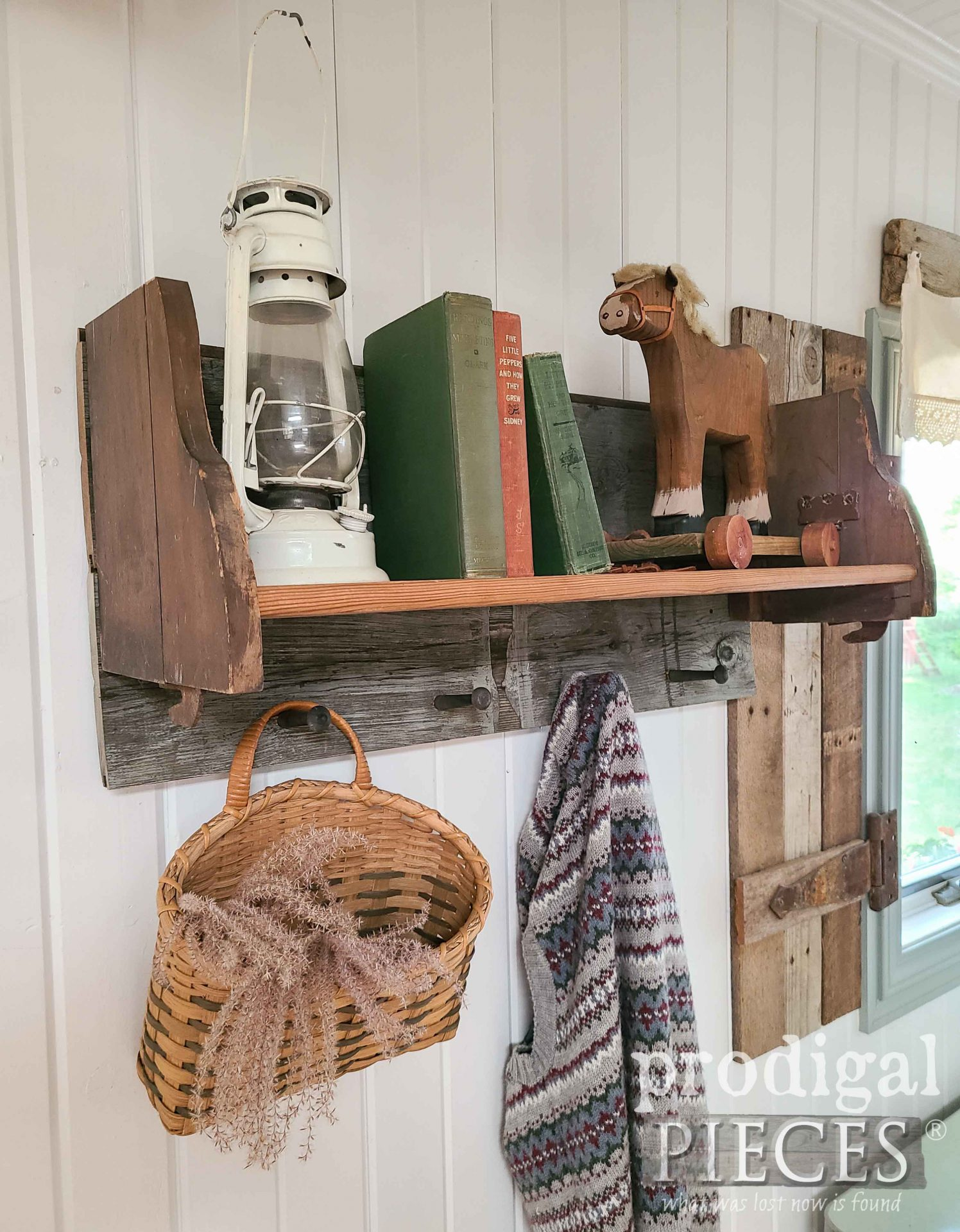 Rustic Reclaimed Shaker Peg Shelf Rack by Larissa of Prodigal Pieces   prodigalpieces.com #prodigalpieces #reclaimed #farmhouse #home #diy #rustic