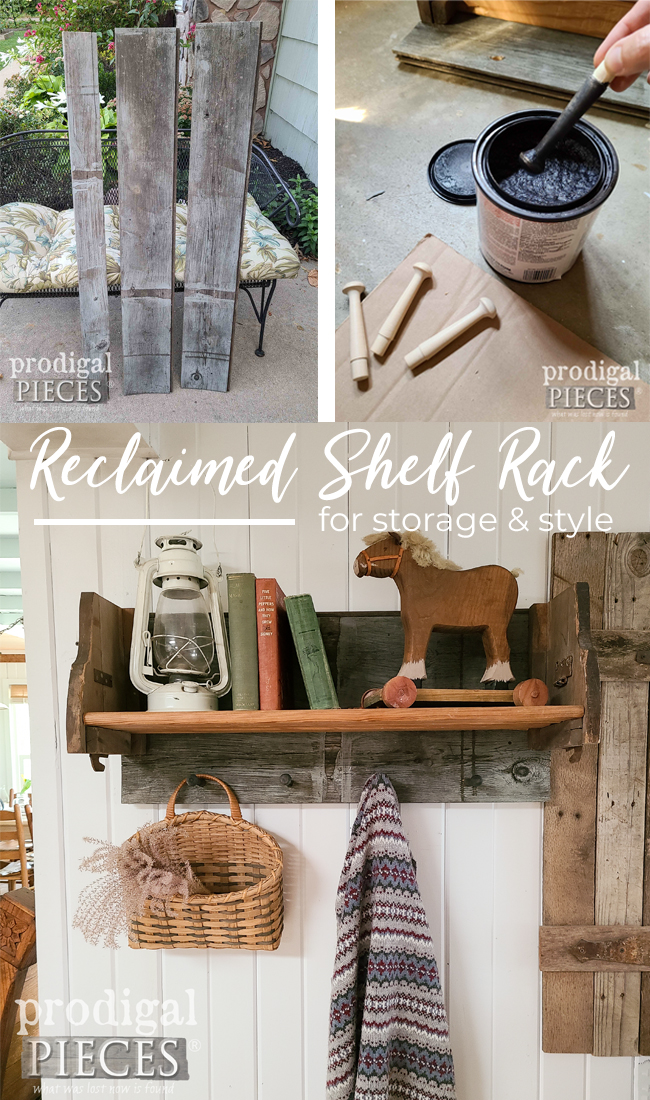 Build a reclaimed shelf rack with misfits that really make a home story. See the full DIY at Prodigal Pieces   prodigalpieces.com #prodigalpieces #diy #reclaimed #home #homedecor #farmhouse