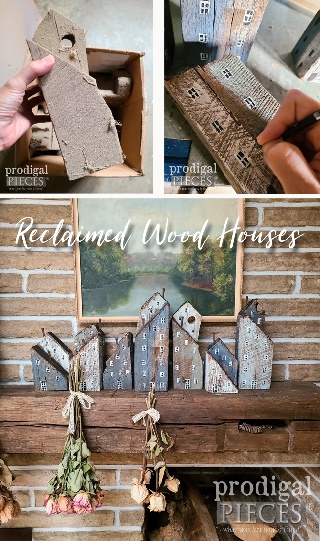 Create a Scandinavian farmhouse vignette with reclaimed wood houses | Tutorial by Larissa of Prodigal Pieces | prodigalpieces.com #prodigalpieces #reclaimed #diy #farmhouse #scandi