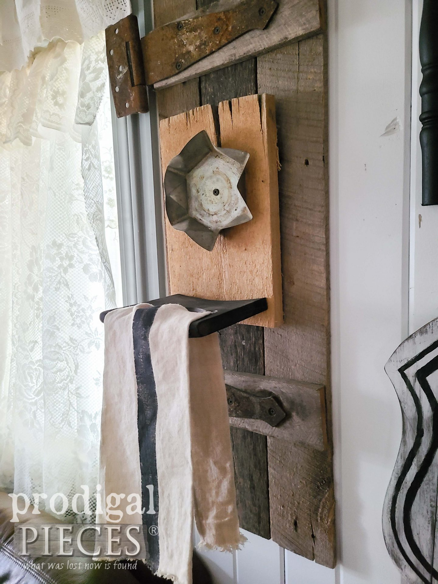 Repurposed Farmhouse Towel Holder from Broken Chair by Larissa of Prodigal Pieces | prodigalpieces.com #prodigalpieces #farmhouse #home