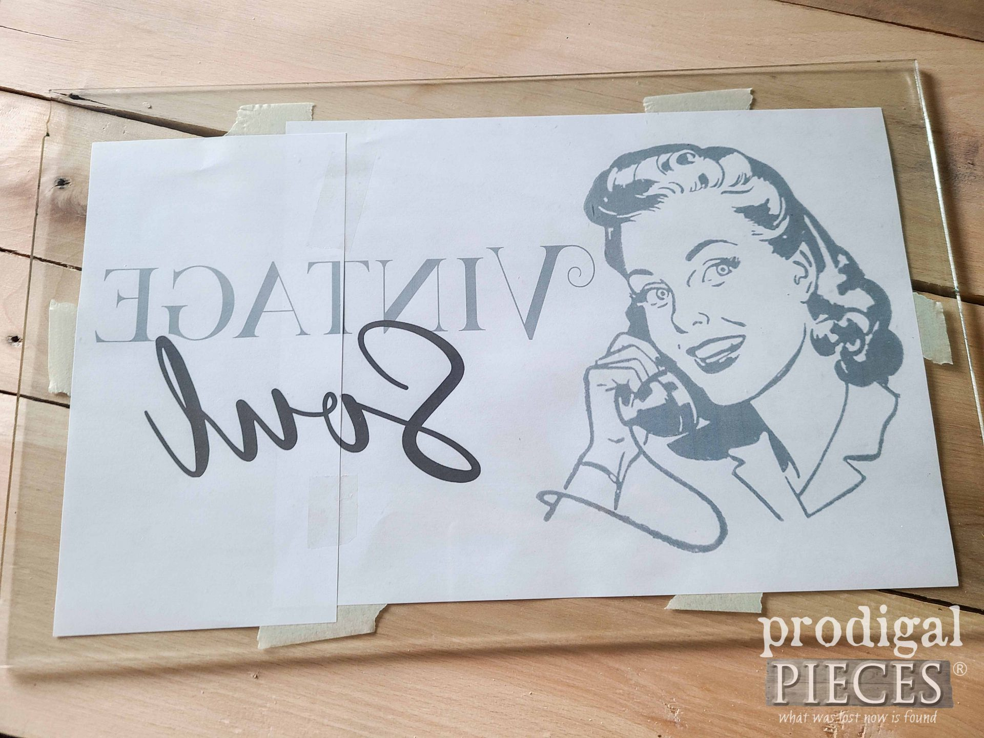 Reverse Painting Image Taped to Tray | prodigalpieces.com