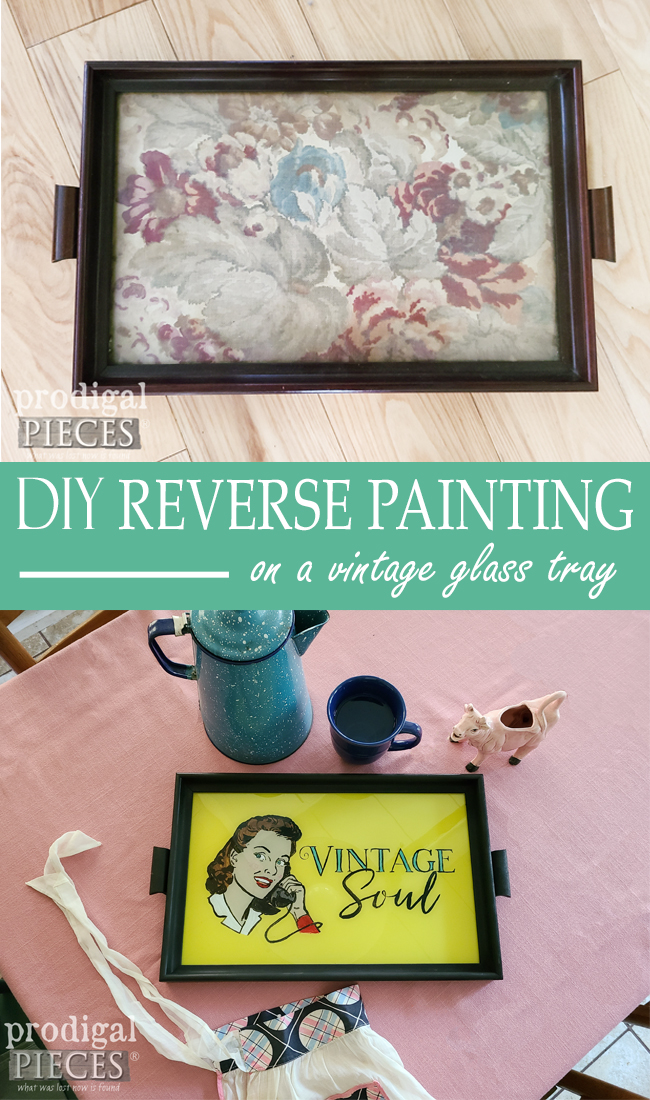 Jazz up your vintage items with this Reverse Painting on Glass DIY tutorial by Larissa of Prodigal Pieces | prodigalpieces.com #prodigalpieces #vintage #tutorial #diy