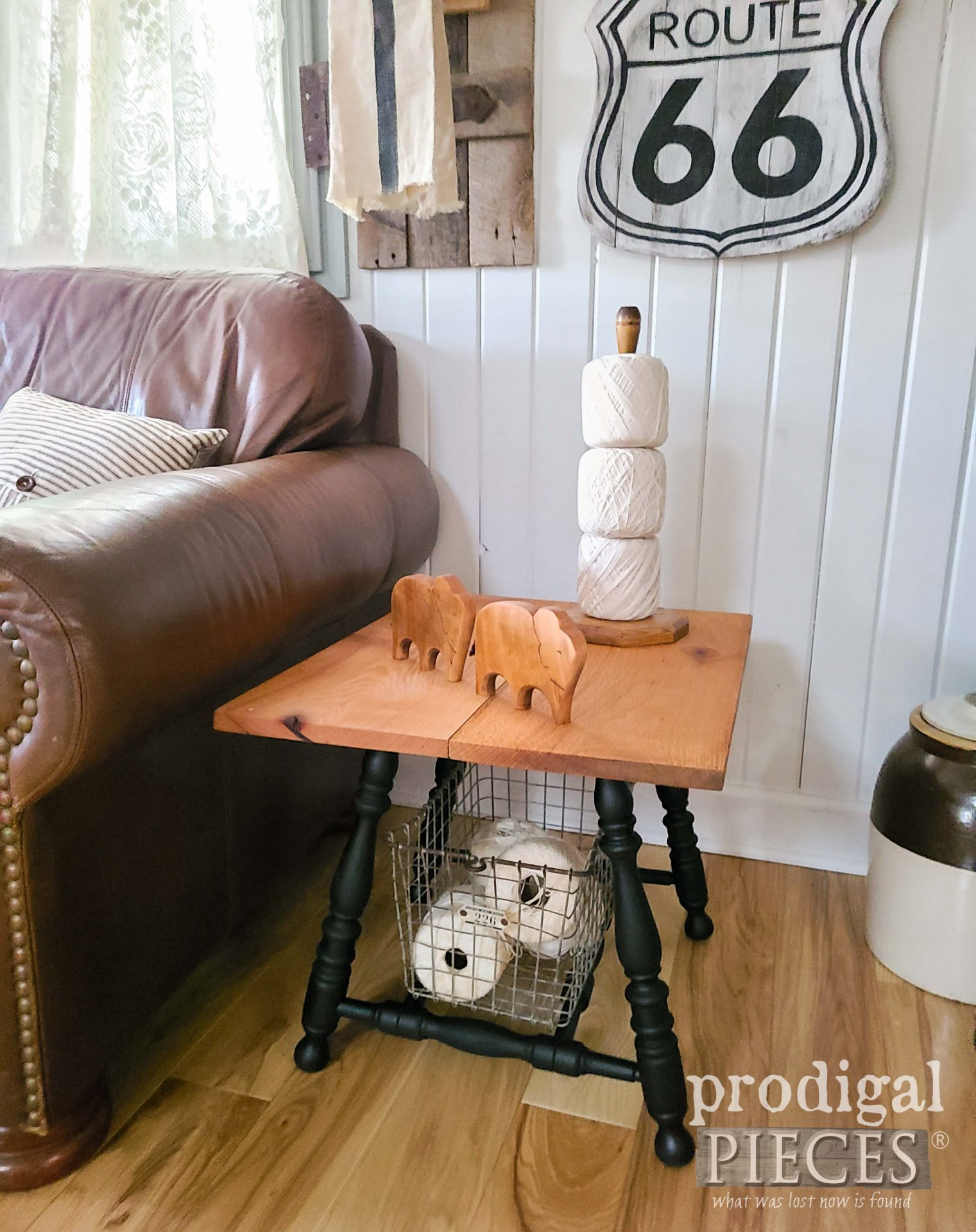 Rustic Farmhouse Side Table with Oak Top from Upcycled Broken Chair Parts by Larissa of Prodigal Pieces | prodigalpieces.com #prodigalpieces #farmhouse #furniture #home #diy