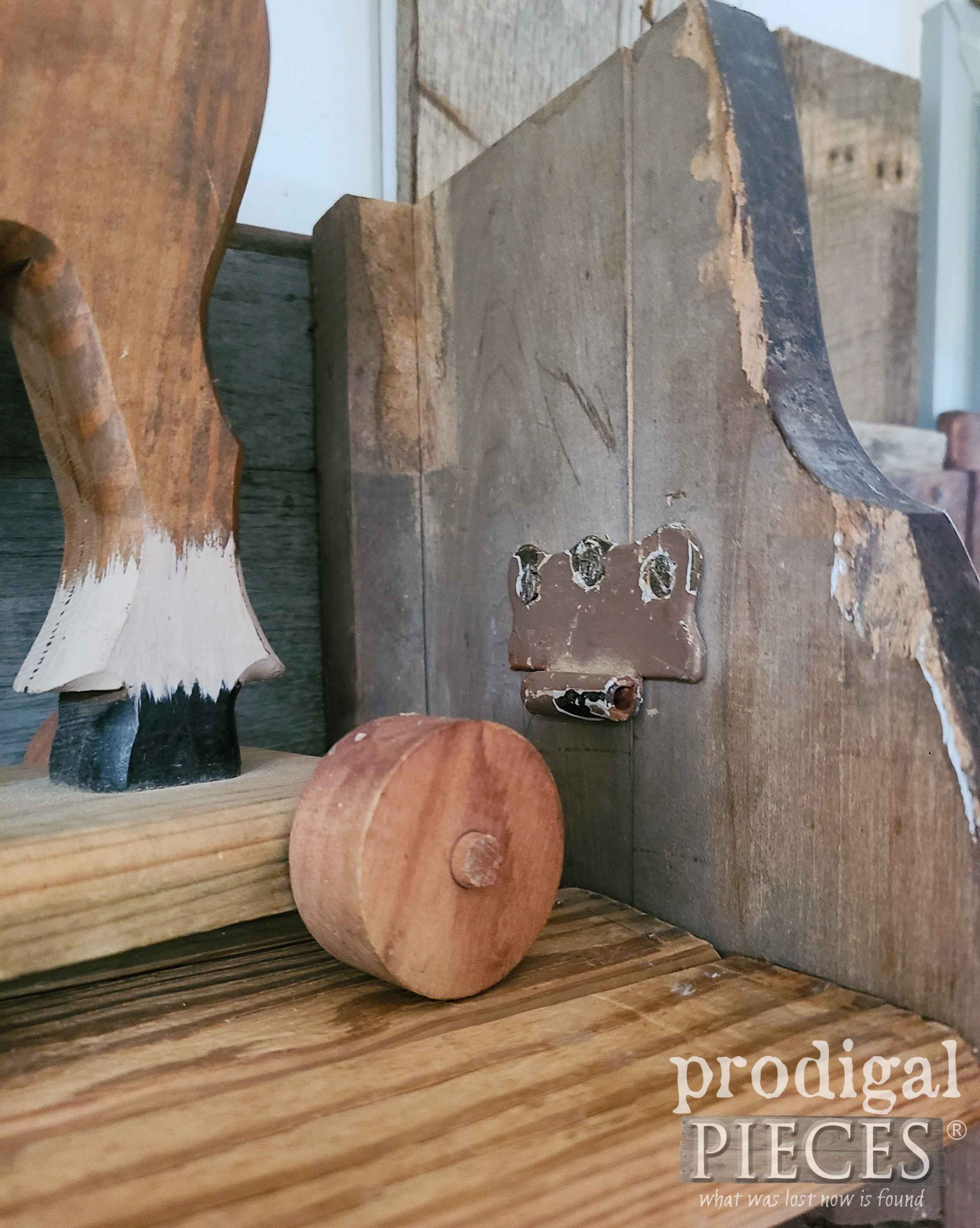 Rusty Hinge Patch on Reclaimed Shelf Rack   prodigalpieces.com #prodigalpieces #reclaimed #diy #farmhouse #storage
