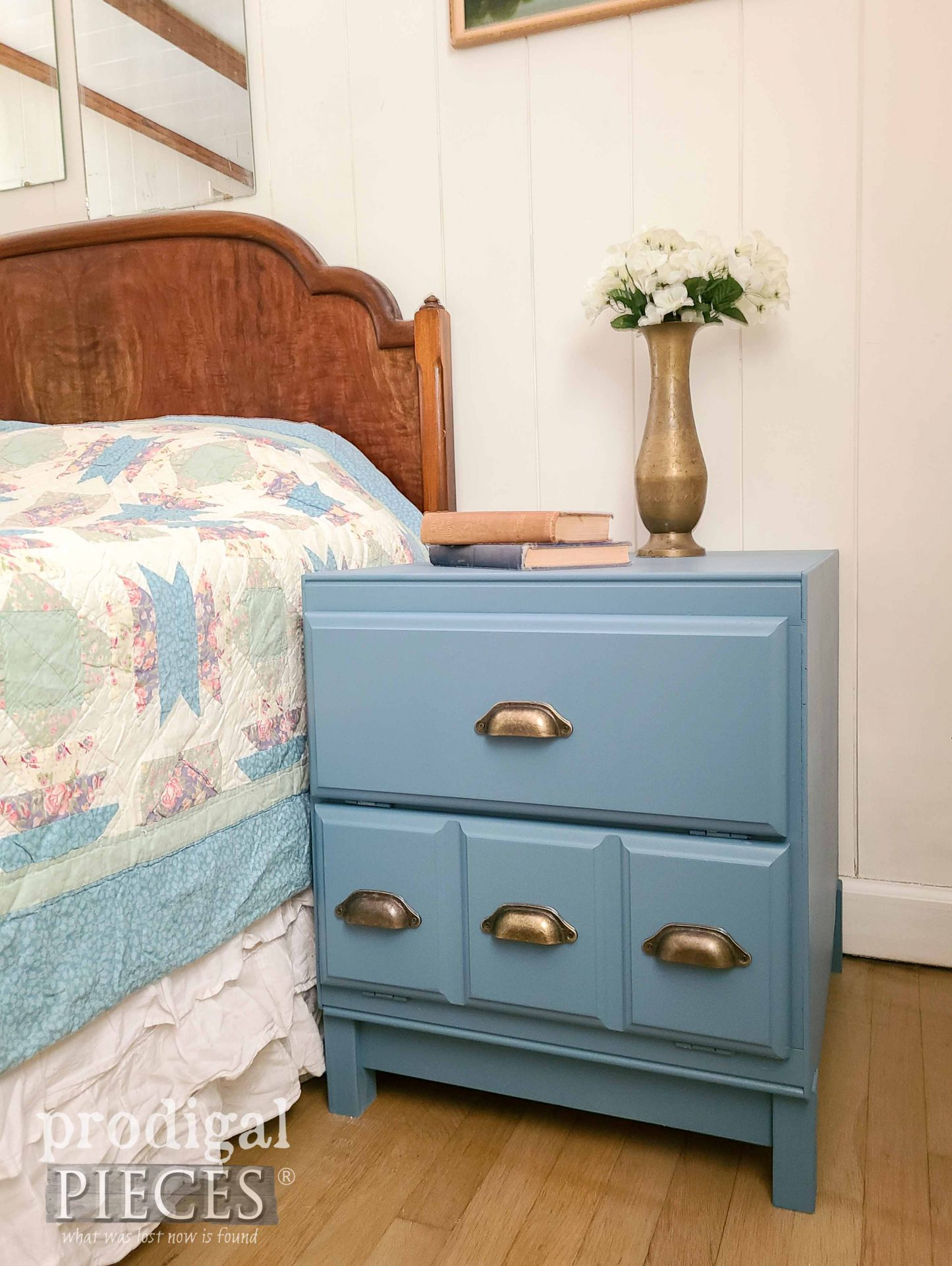 Cabinet Side Table Side View in Blue by Larissa of Prodigal Pieces   prodigalpieces.com #prodigalpieces #furniture #blue #modernfarmhouse