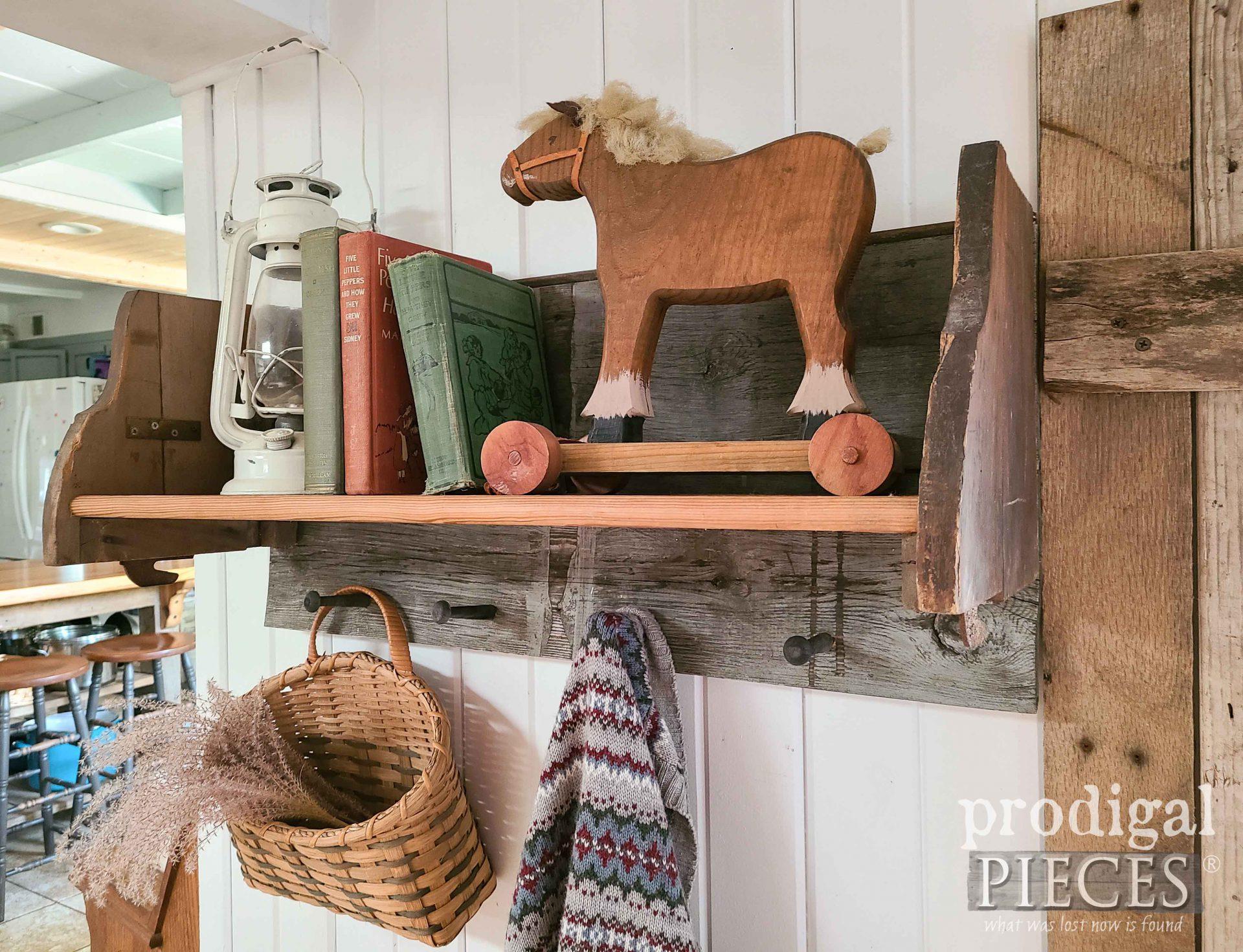 Side View of Reclaimed Shelf Rack built by Larissa of Prodigal Pieces   prodigalpieces.com #prodigalpieces #shelf #diy #farmhouse #home