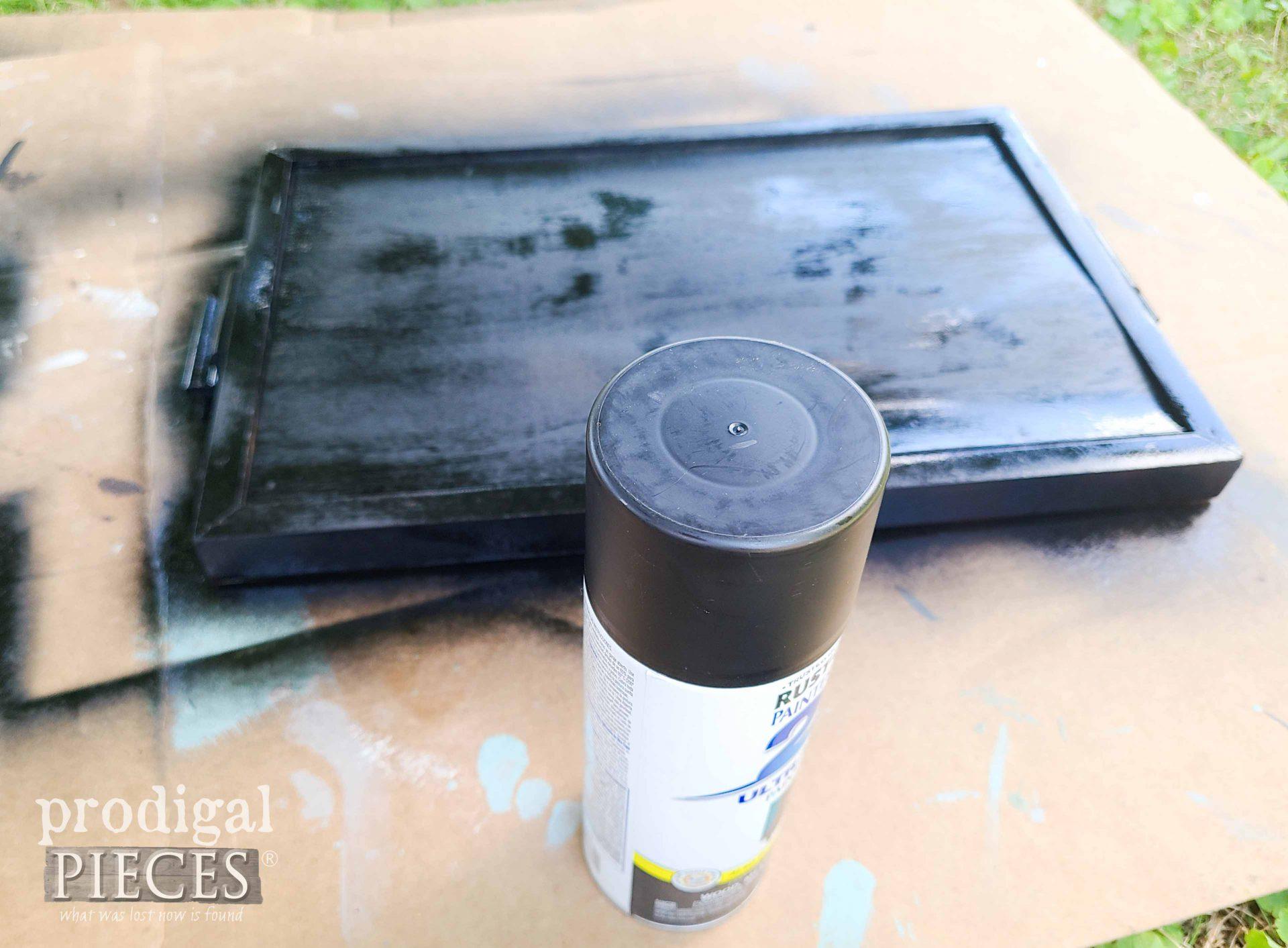 Spray Painting Serving Tray Frame Black | prodigalpieces.com