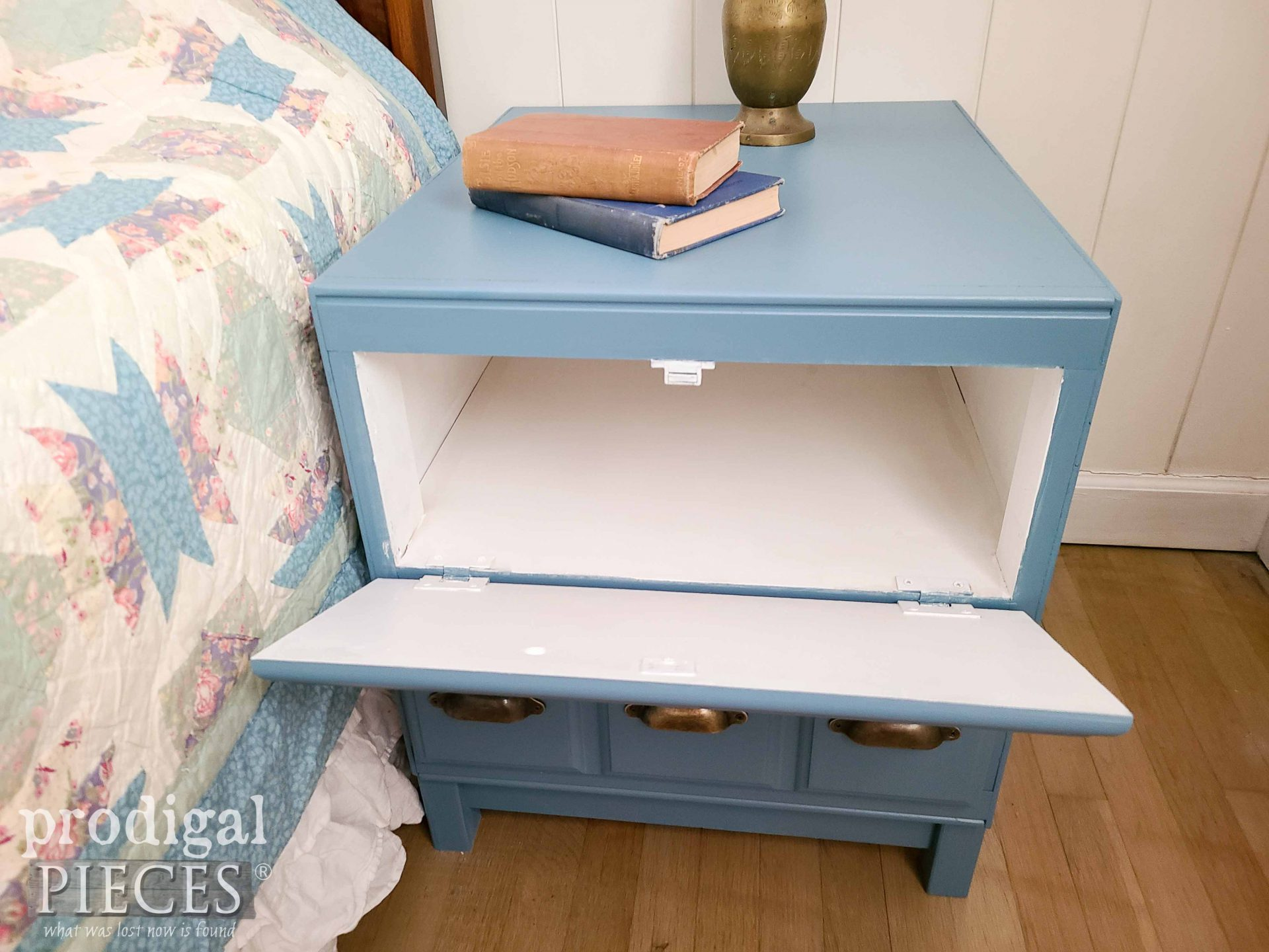 Top Open Cabinet Side Table Redesigned by Larissa of Prodigal Pieces   prodigalpieces.com #prodigalpieces #furniture #home #diy