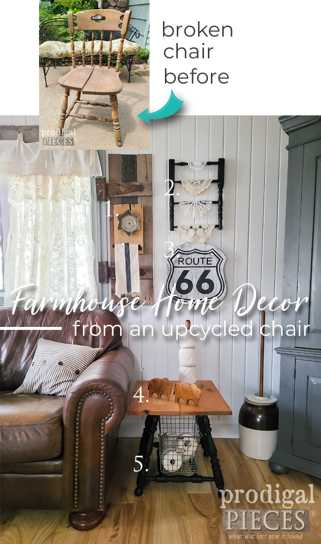 A single upcycled broken chair is turned into 5 different home decor projects by Larissa of Prodigal Pieces | prodigalpieces.com #prodigalpieces #diy #upcycled #farmhouse #home #homedecor