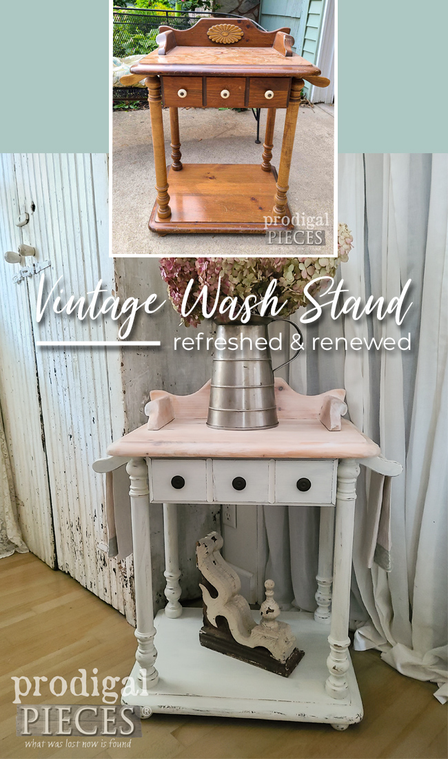 Dated and worn, this vintage wash stand needed a refreshing by Larissa of Prodigal Pieces | prodigalpieces.com #prodigalpieces #diy #farmhouse #vintage #home #furniture #homedecor