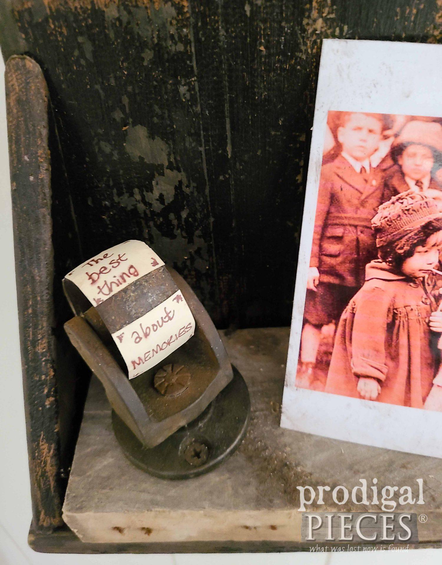 Antique Caster with Memory Quote for Rustic Chic Home Decor   prodigalpieces.com #prodigalpieces #antique #farmhouse