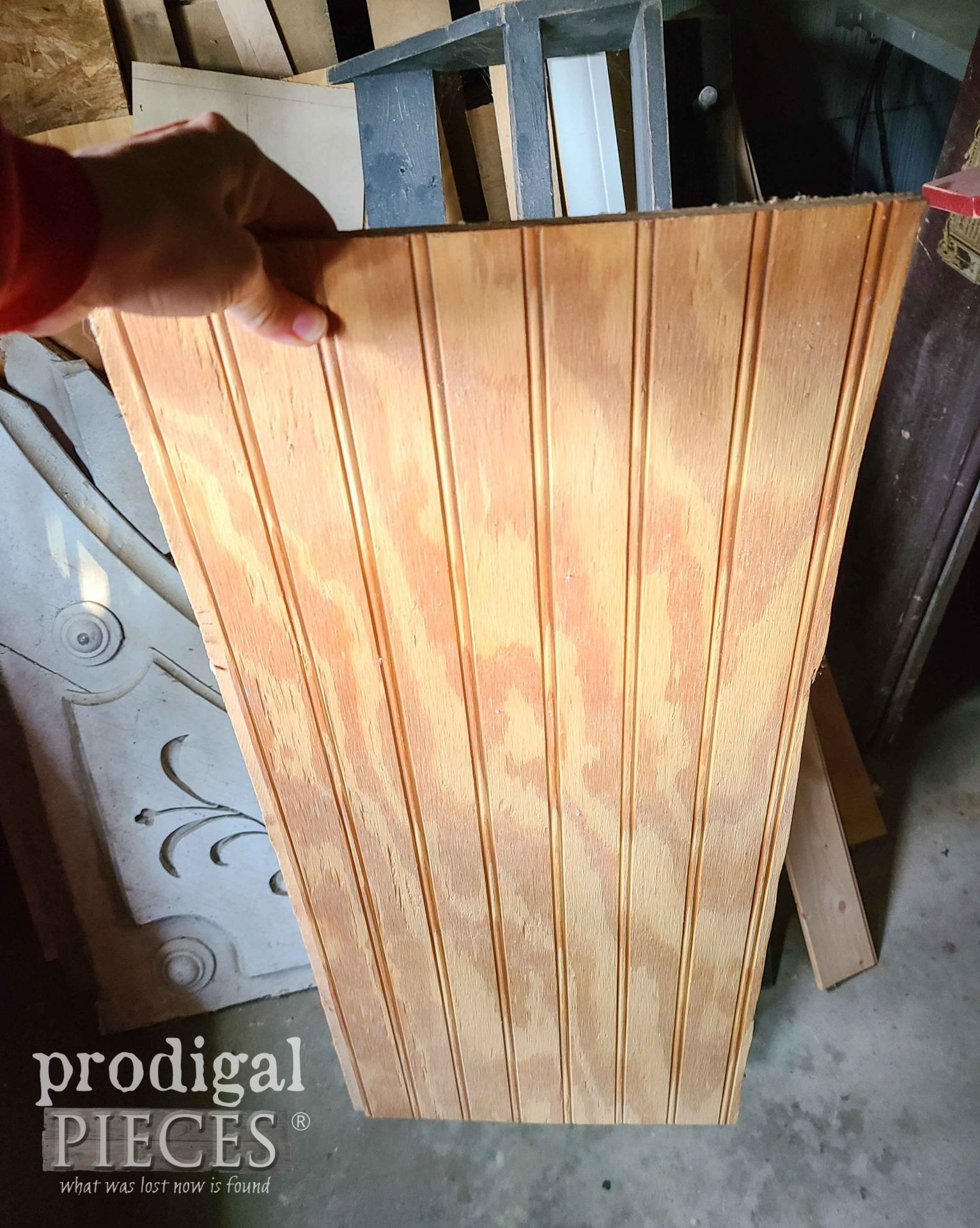 Beadboard Scrap for Reclaimed Whiskey Barrel Upcycle by Prodigal Pieces | prodigalpieces.com