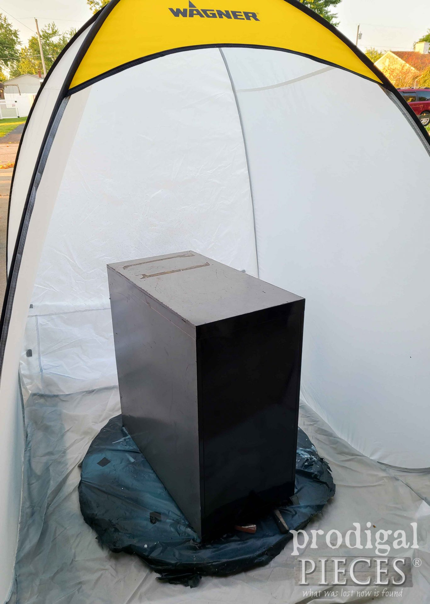 Spray Painting Filing Cabinet in Spray Shelter   prodigalpieces.com