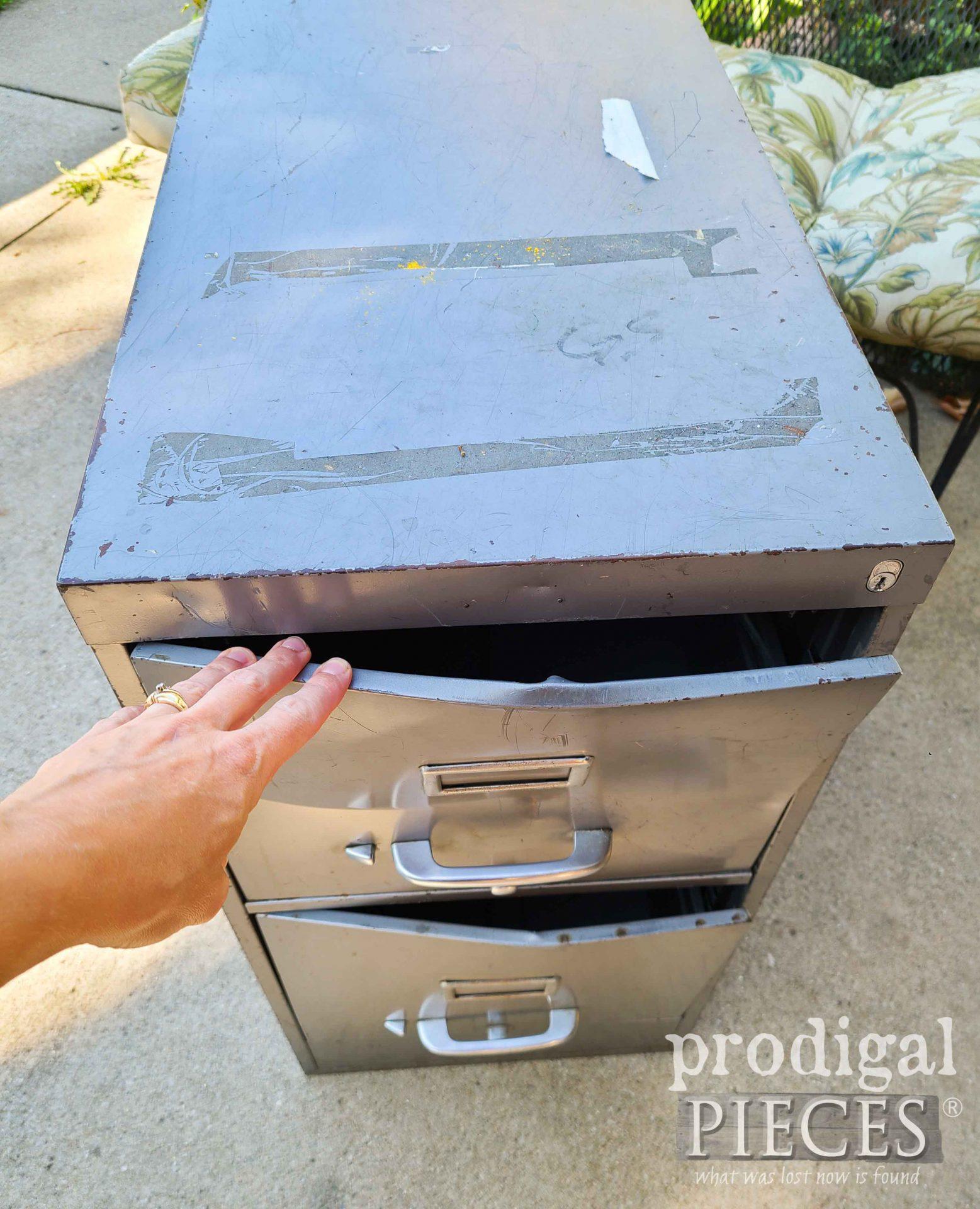 Damaged File Drawers on Upcycled Filing Cabinet   prodigalpieces.com