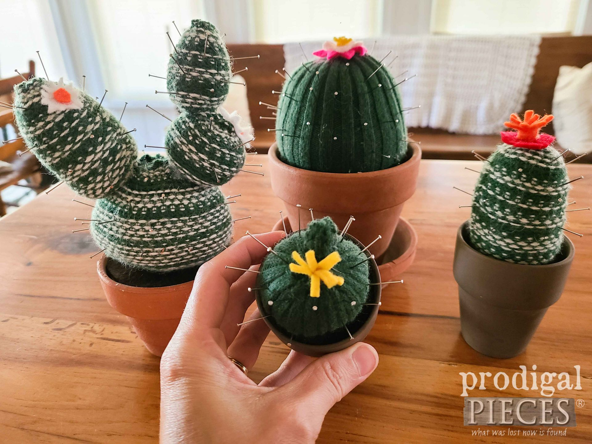 DIY Handmade Cactus Pincushion from Upcycled Sweater | prodigalpieces.com #prodigalpieces #diy #handmade #succulent #sewing