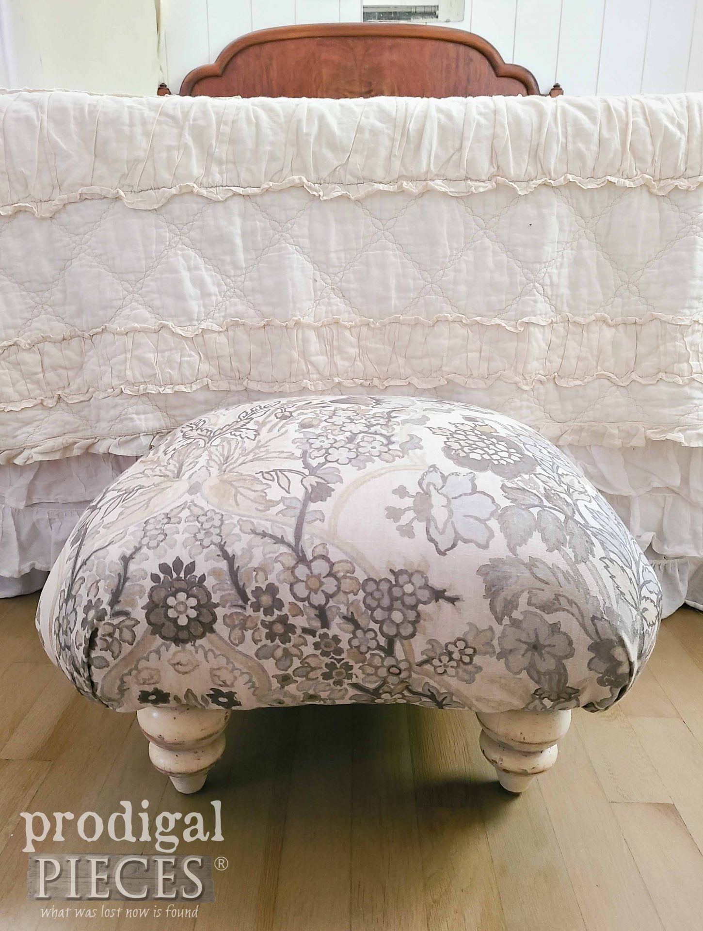 Linen DIY Upcycled Ottoman Created by Larissa of Prodigal Pieces | prodigalpieces.com #prodigalpieces #diy #furniture