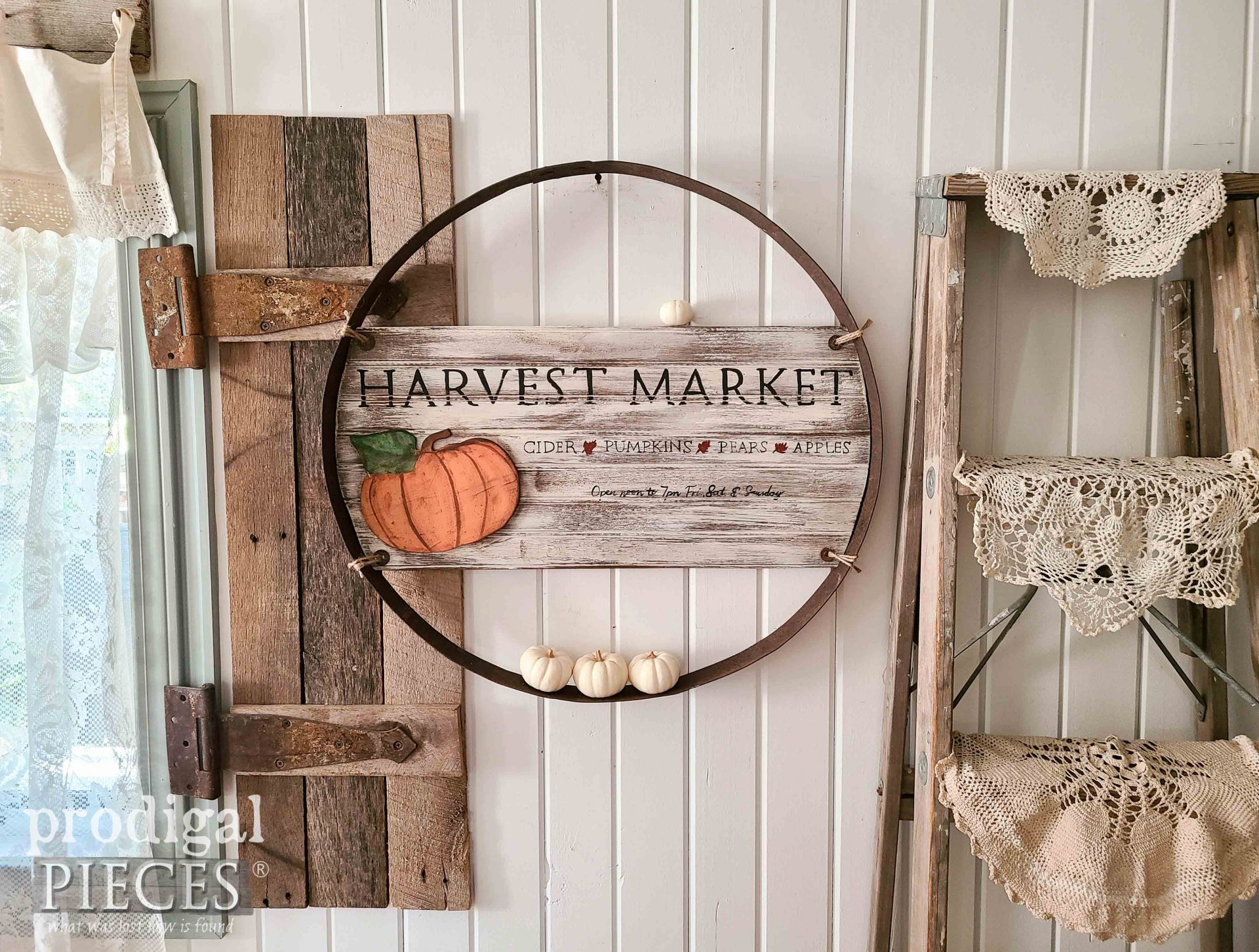 Fall Farmhouse Wall Art from Reclaimed Whiskey Ring Barrel by Larissa of Prodigal Pieces | prodigalpieces.com #prodigalpieces #farmhouse #fall #diy